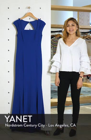 Square Neck Scuba Crepe Evening Dress, sales video thumbnail