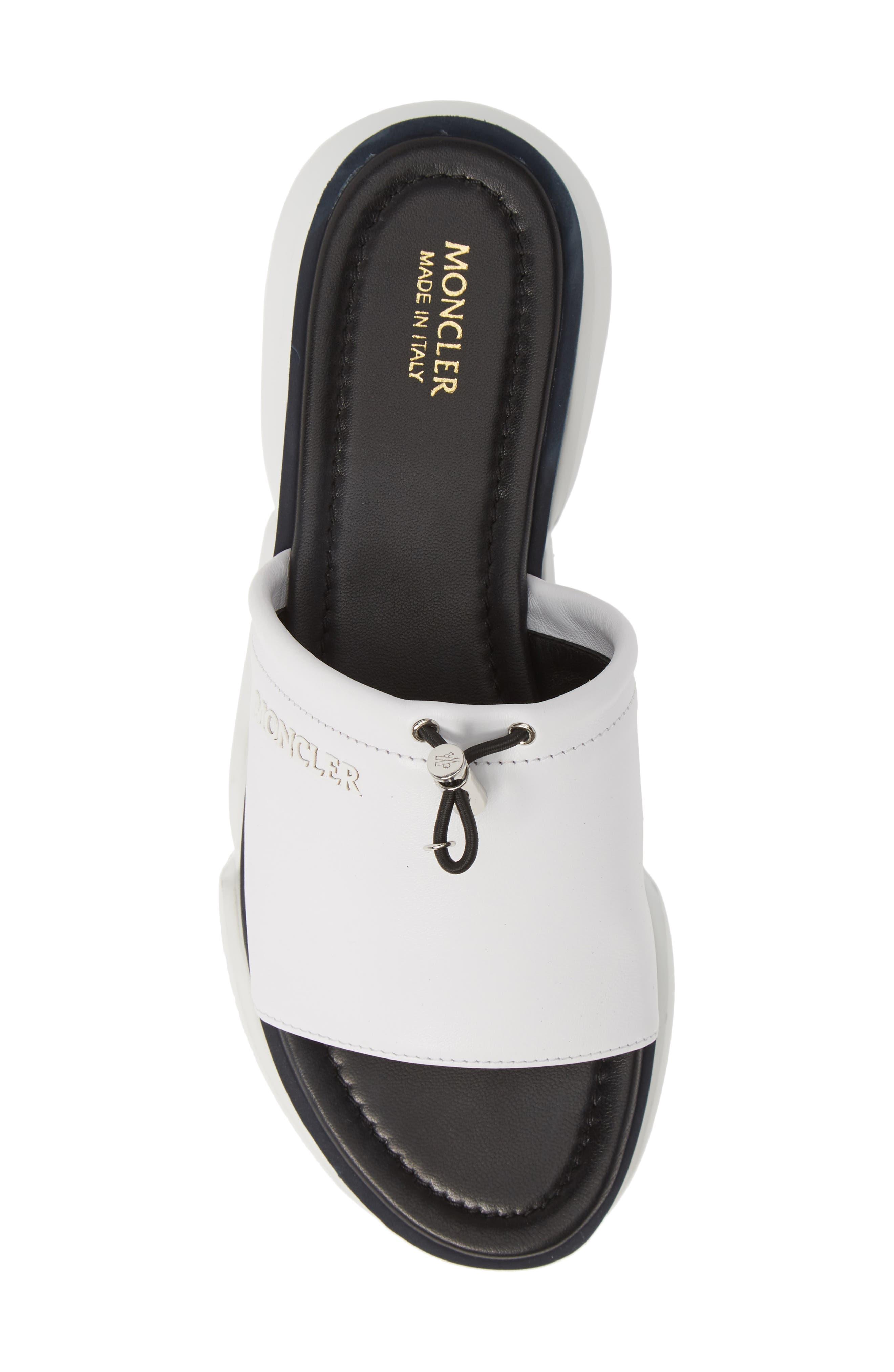 MONCLER, Zaira Platform Slide Sandal, Alternate thumbnail 5, color, WHITE