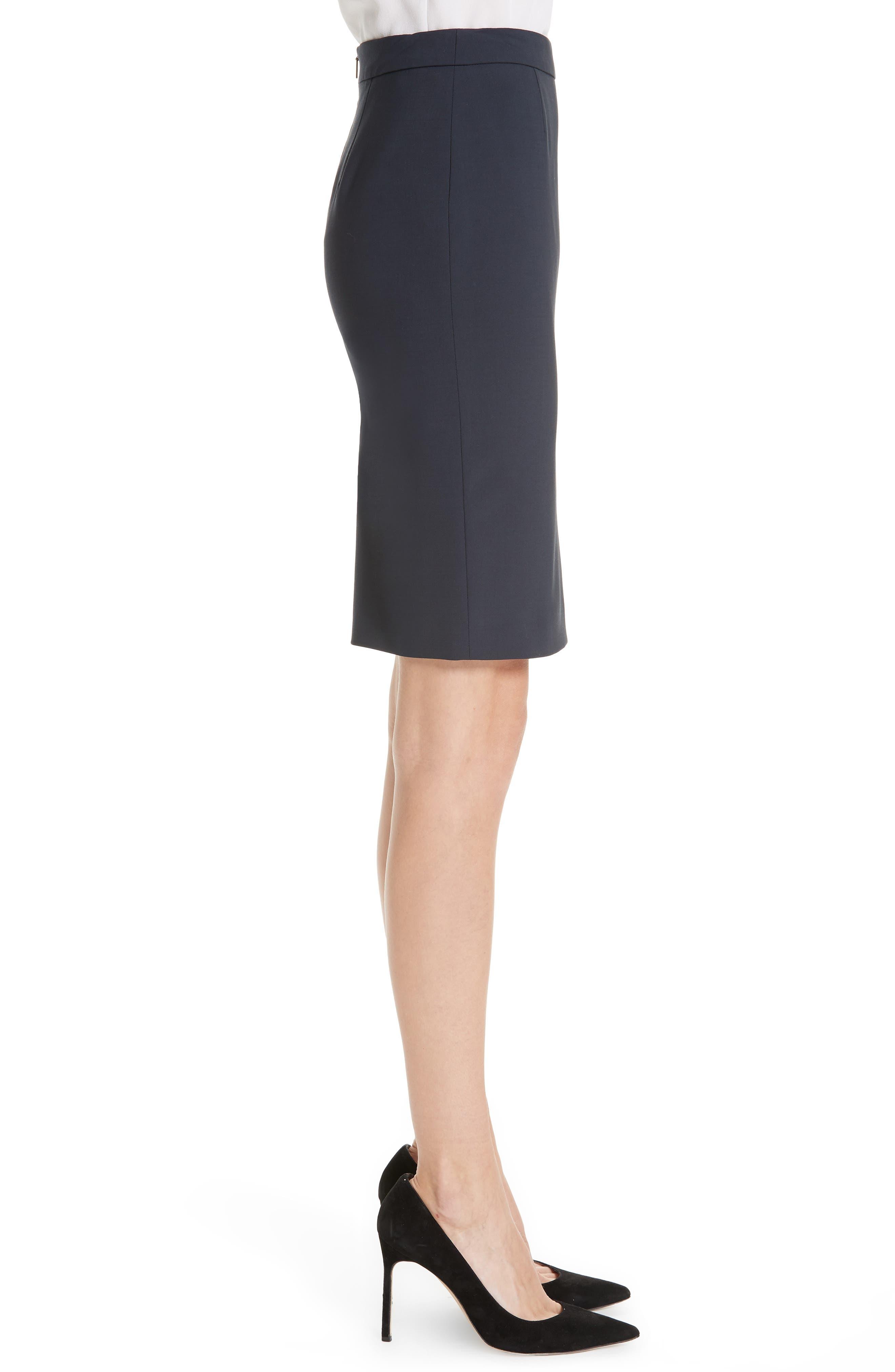BOSS, Vilea Tropical Stretch Wool Pencil Skirt, Alternate thumbnail 3, color, NAVY