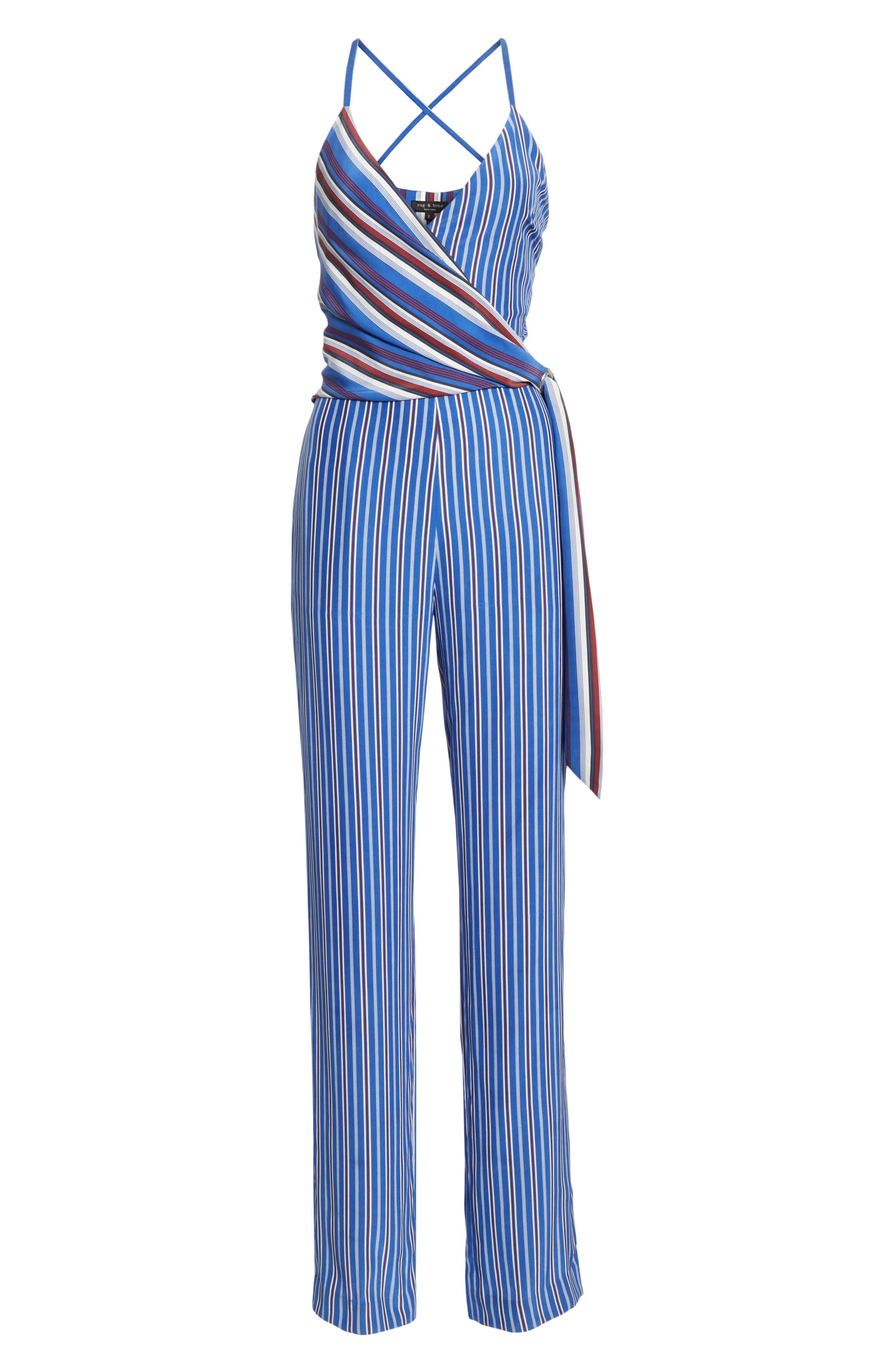 RAG & BONE, Felix Stripe Silk Jumpsuit, Alternate thumbnail 7, color, 474
