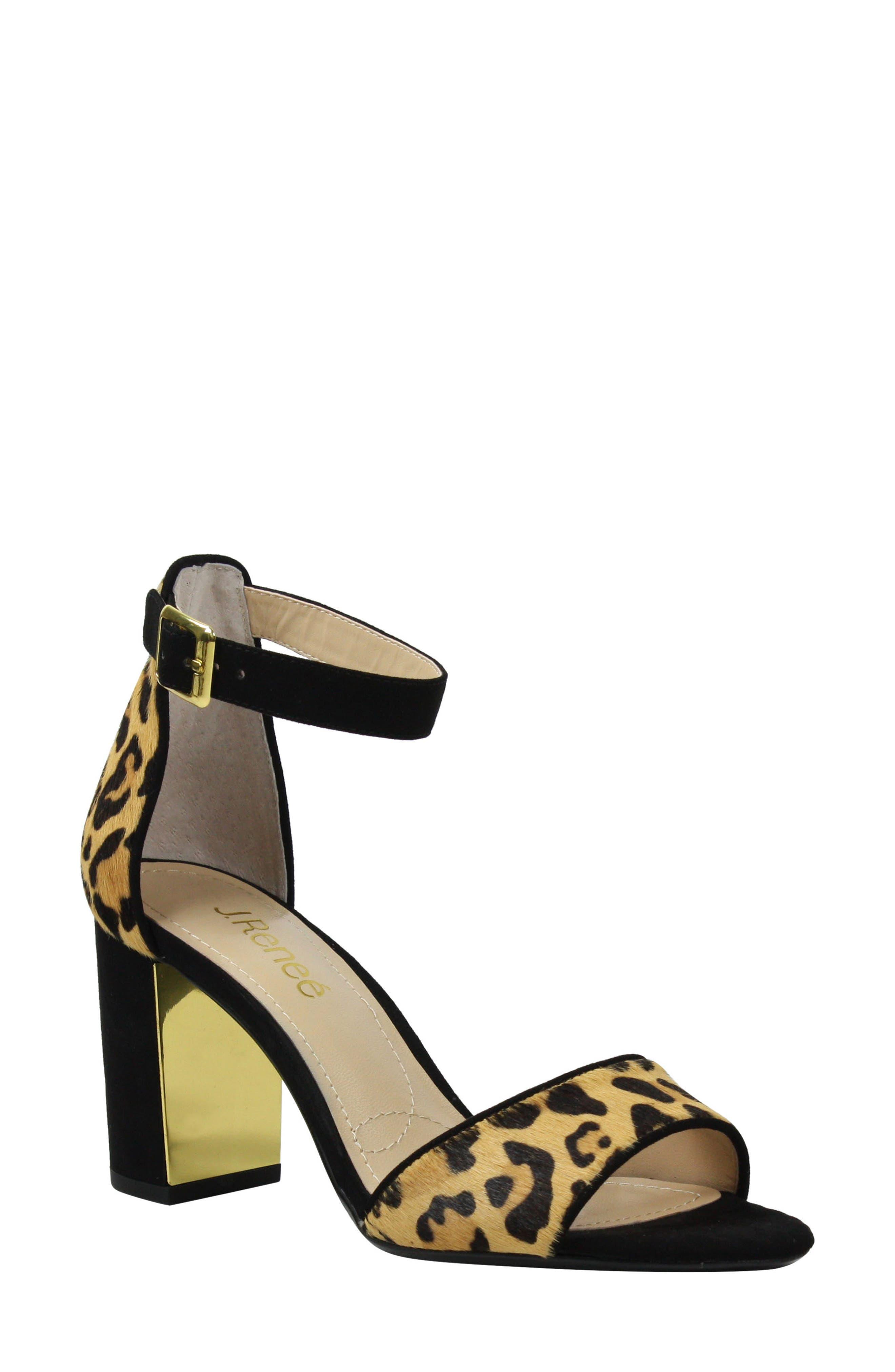 J. RENEÉ, Flaviana Ankle Strap Sandal, Main thumbnail 1, color, BLACK/ BROWN CALF HAIR