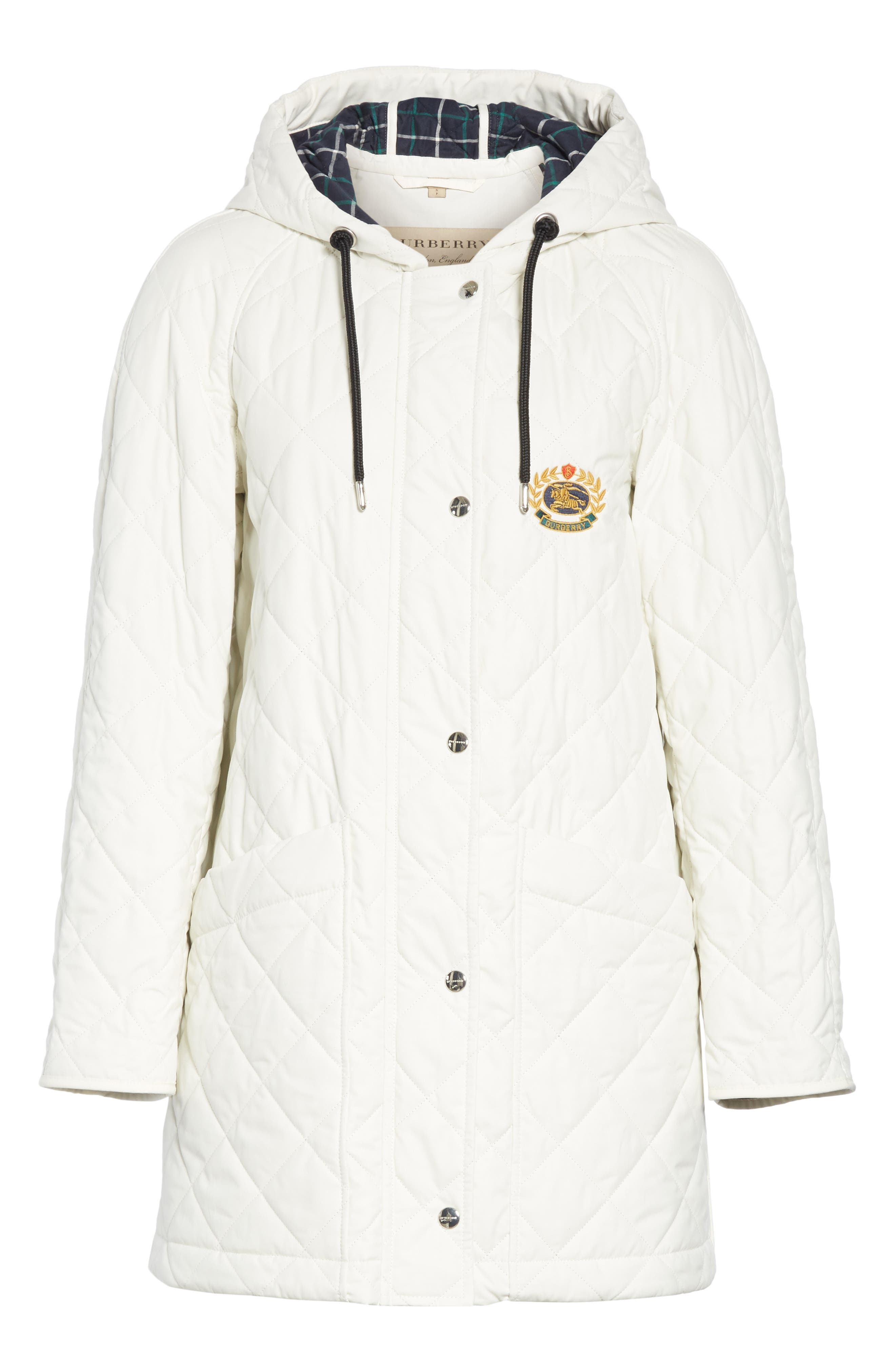 BURBERRY, Roxwell Embroidered Archive Logo Quilted Coat, Alternate thumbnail 5, color, 100