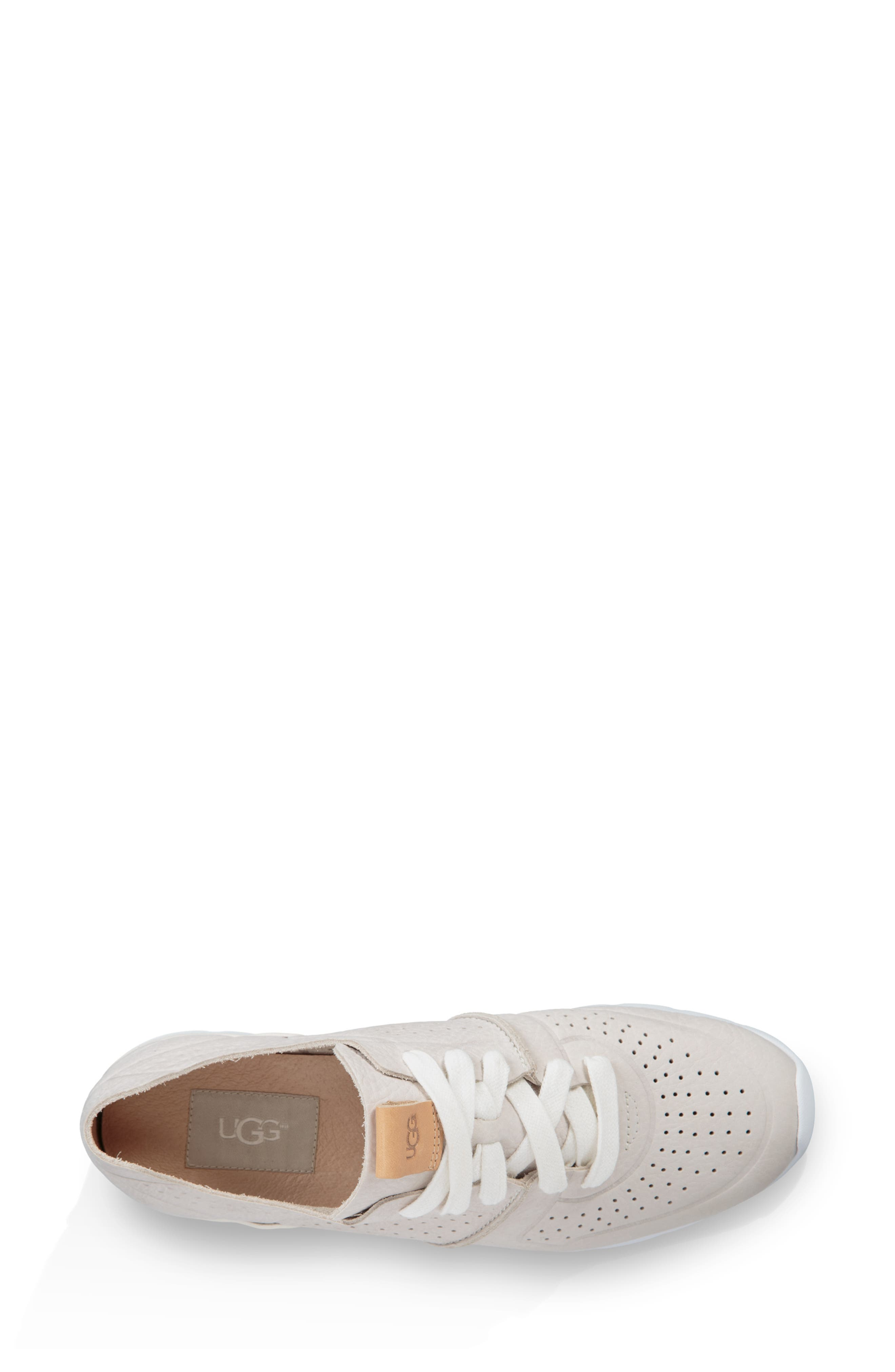UGG<SUP>®</SUP>, Tye Sneaker, Alternate thumbnail 4, color, COCONUT MILK LEATHER