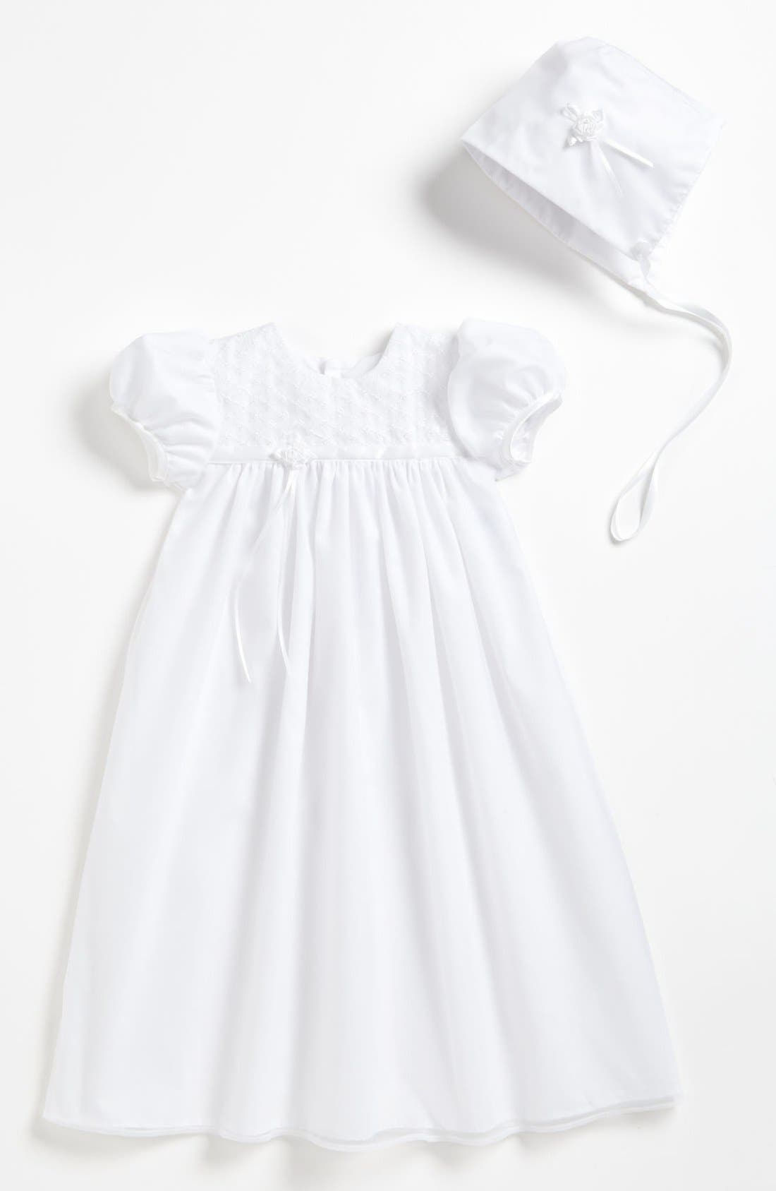 LITTLE THINGS MEAN A LOT, Embroidered Christening Gown & Bonnet, Main thumbnail 1, color, WHITE