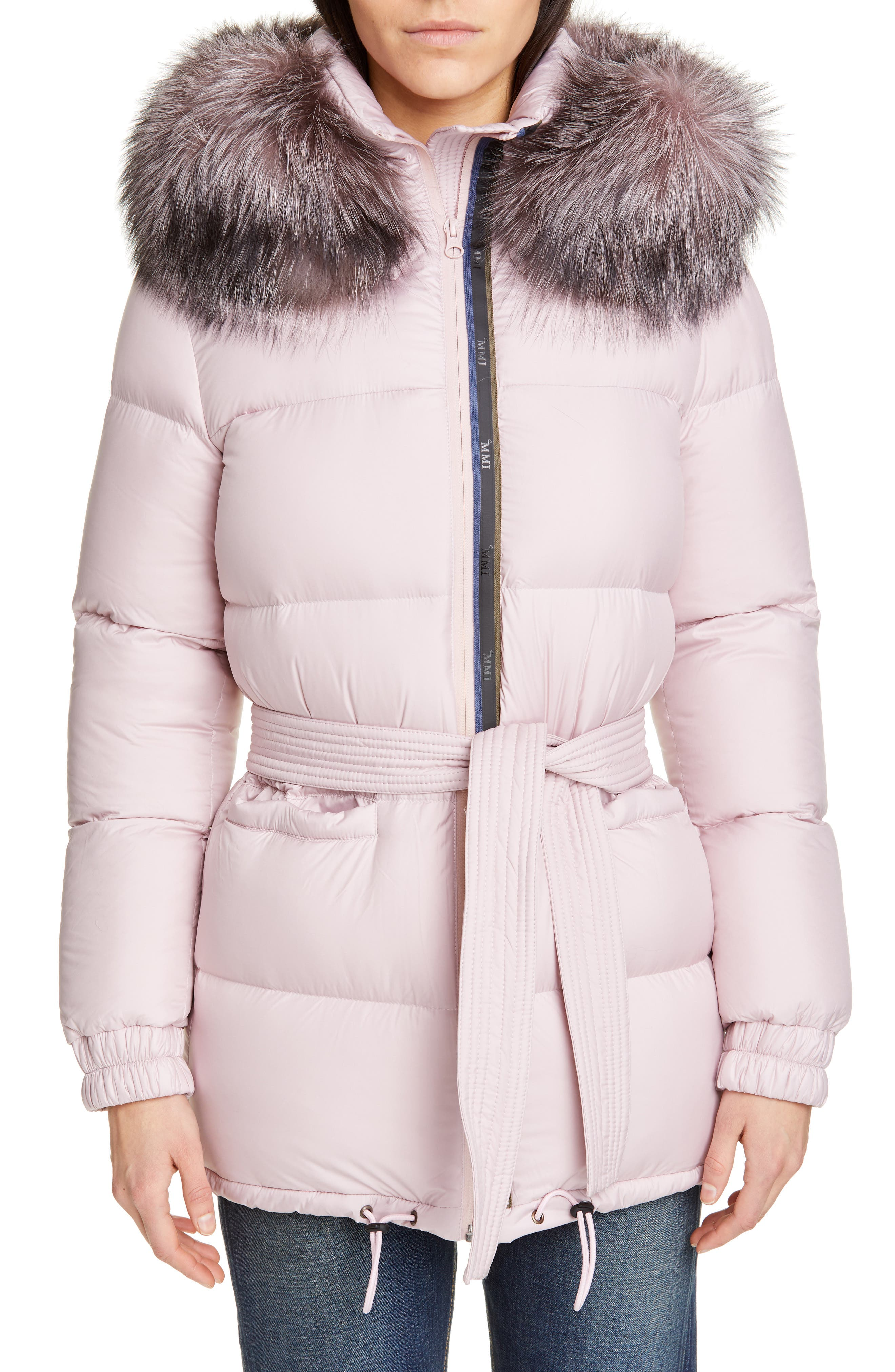 MR & MRS ITALY Genuine Fox Fur Trim Quilted Down Puffer Coat, Main, color, PINK