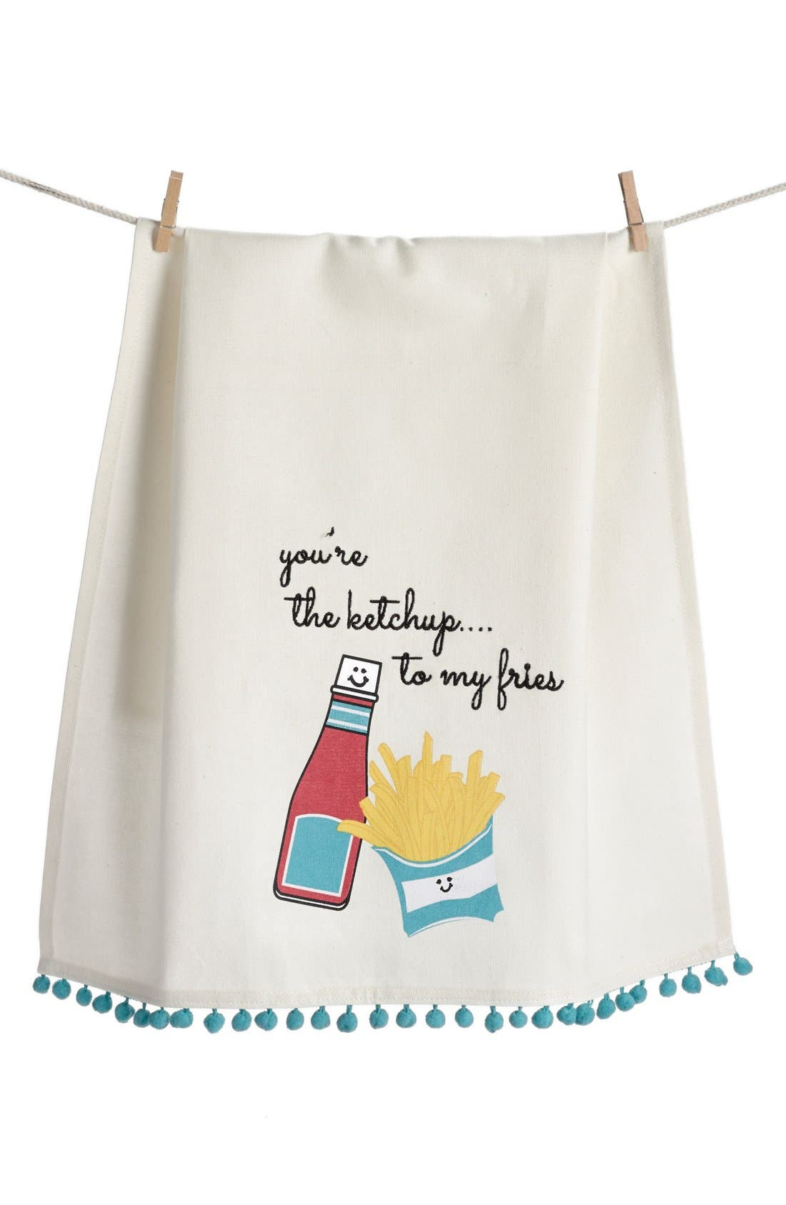 LEVTEX 'You're the Ketchup to My Fries' Dish Towel, Main, color, 250