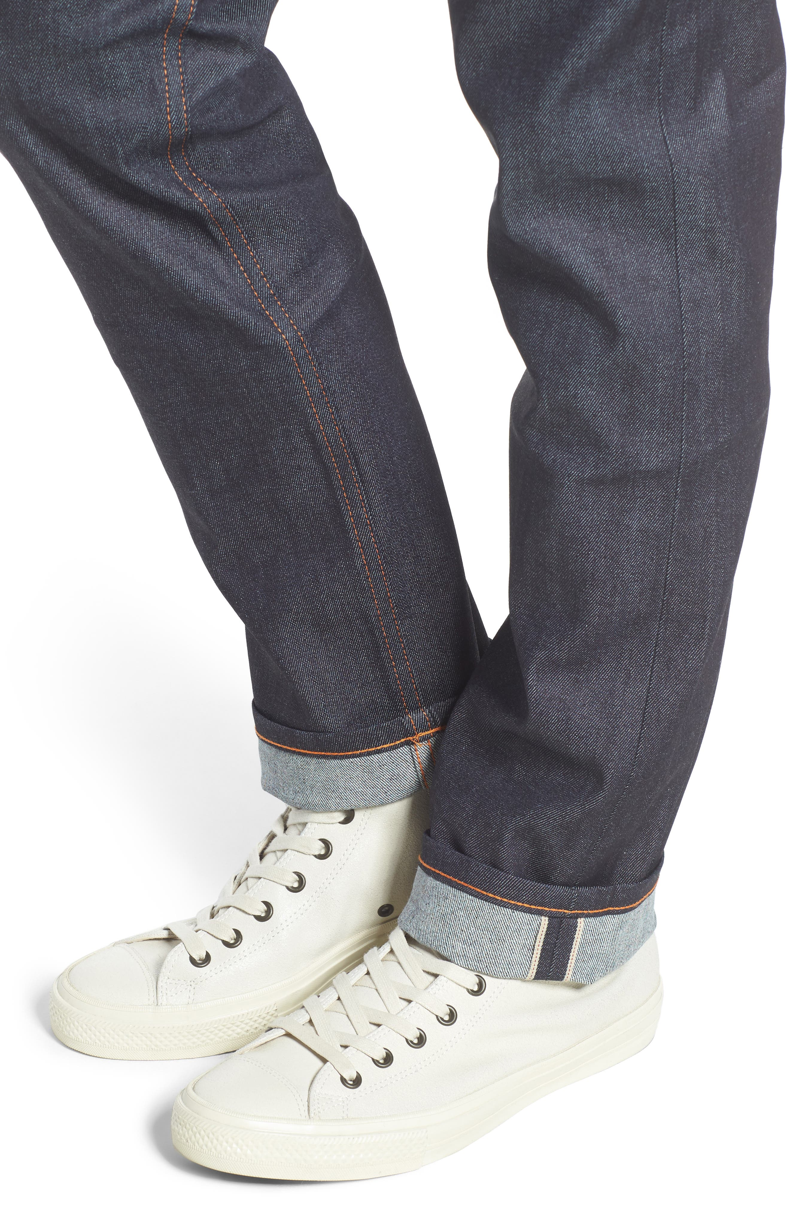 NAKED & FAMOUS DENIM, Weird Guy 11 oz. Slim Fit Stretch Selvedge Jeans, Alternate thumbnail 4, color, INDIGO