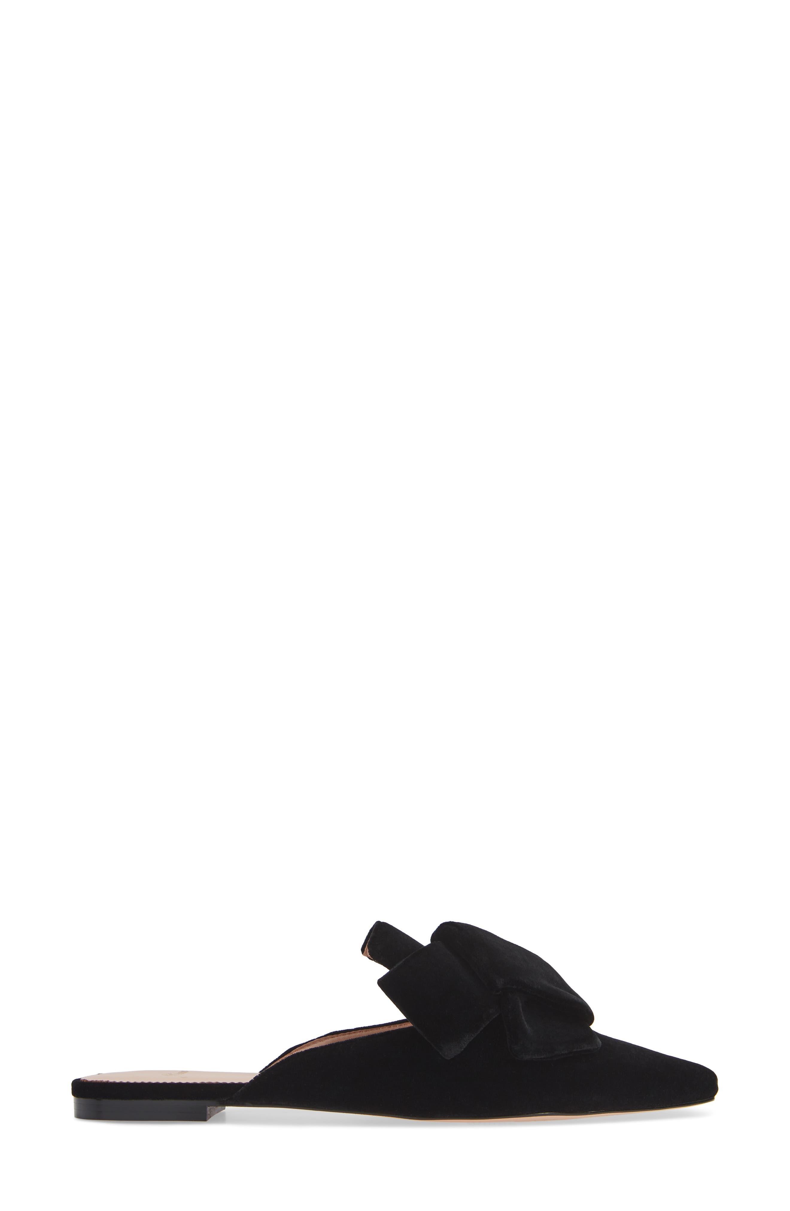 J.CREW, Pointed Toe Slide Sandal, Alternate thumbnail 3, color, BLACK VELVET