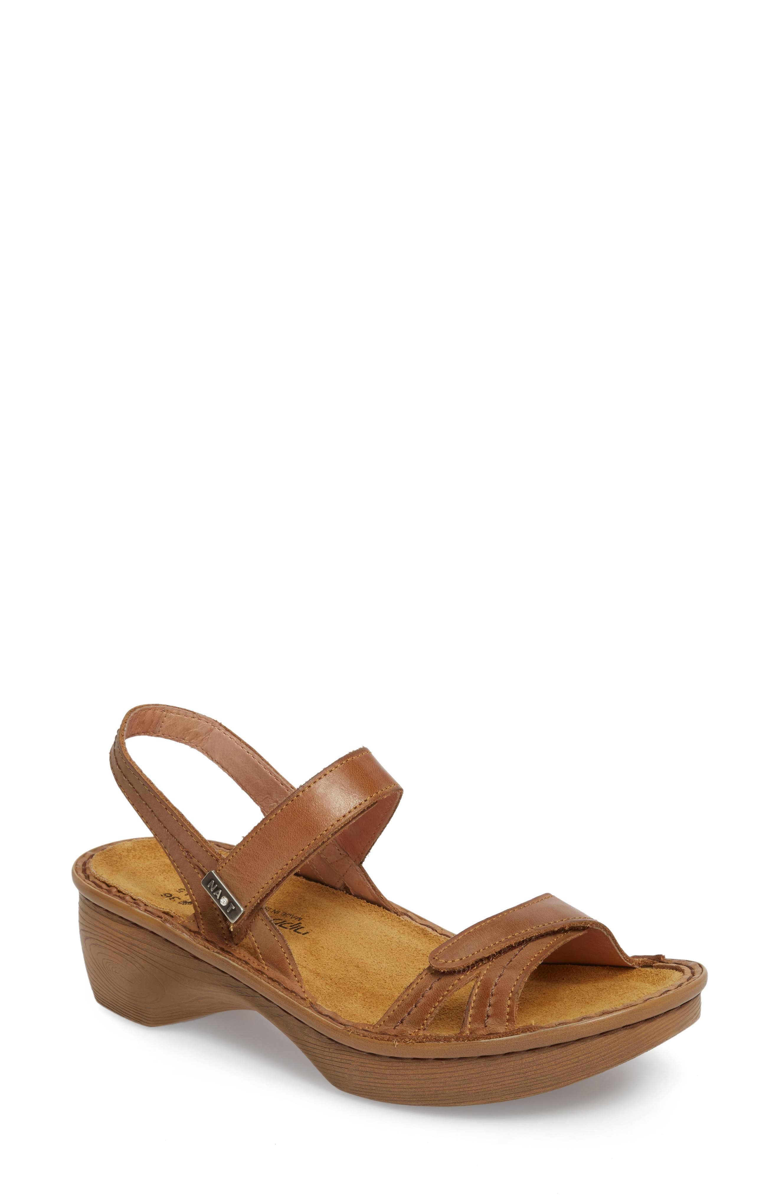 NAOT, 'Brussels' Sandal, Main thumbnail 1, color, VINTAGE CAMEL LEATHER