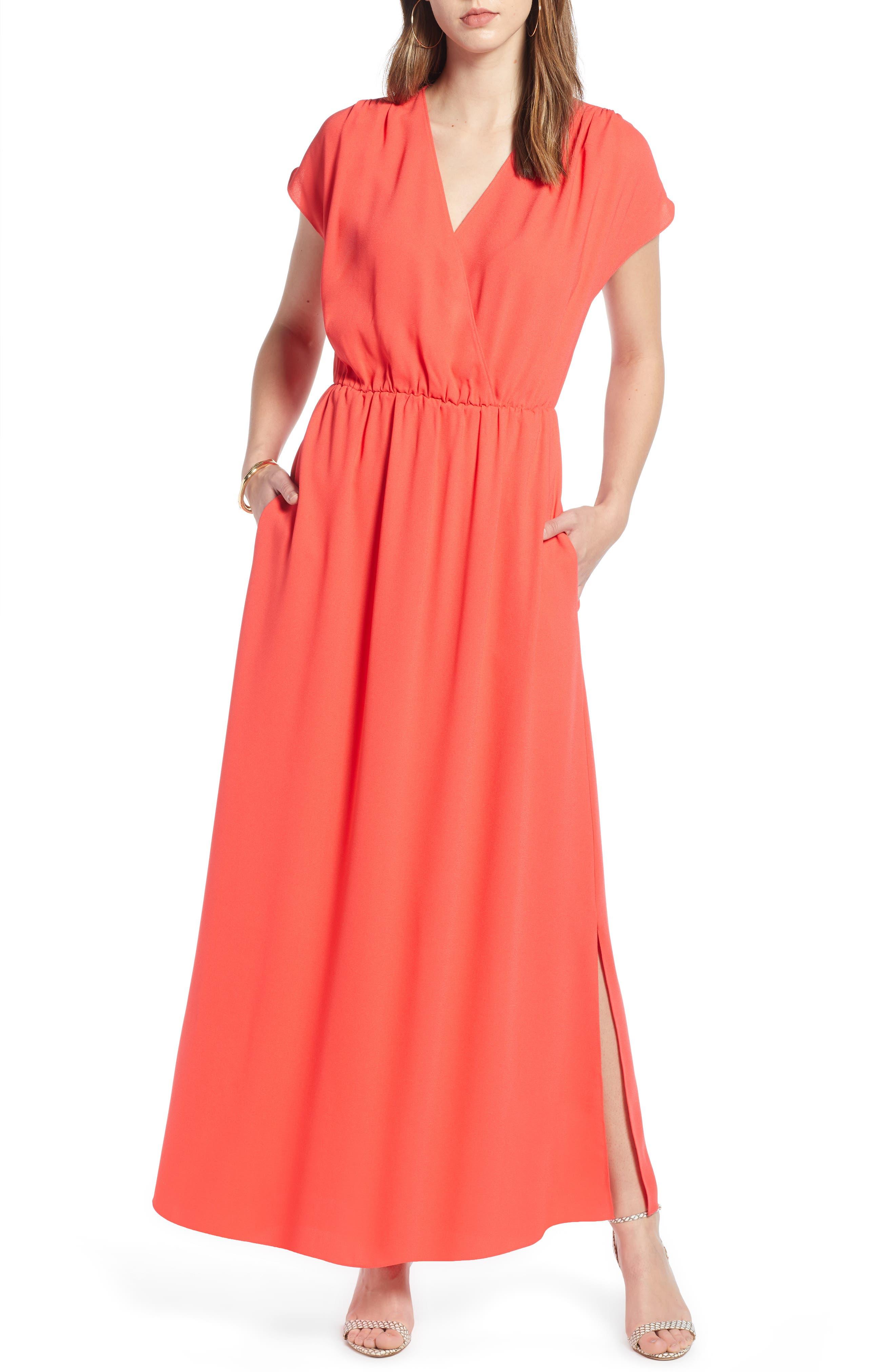 Halogen V-Neck Maxi Dress, Red