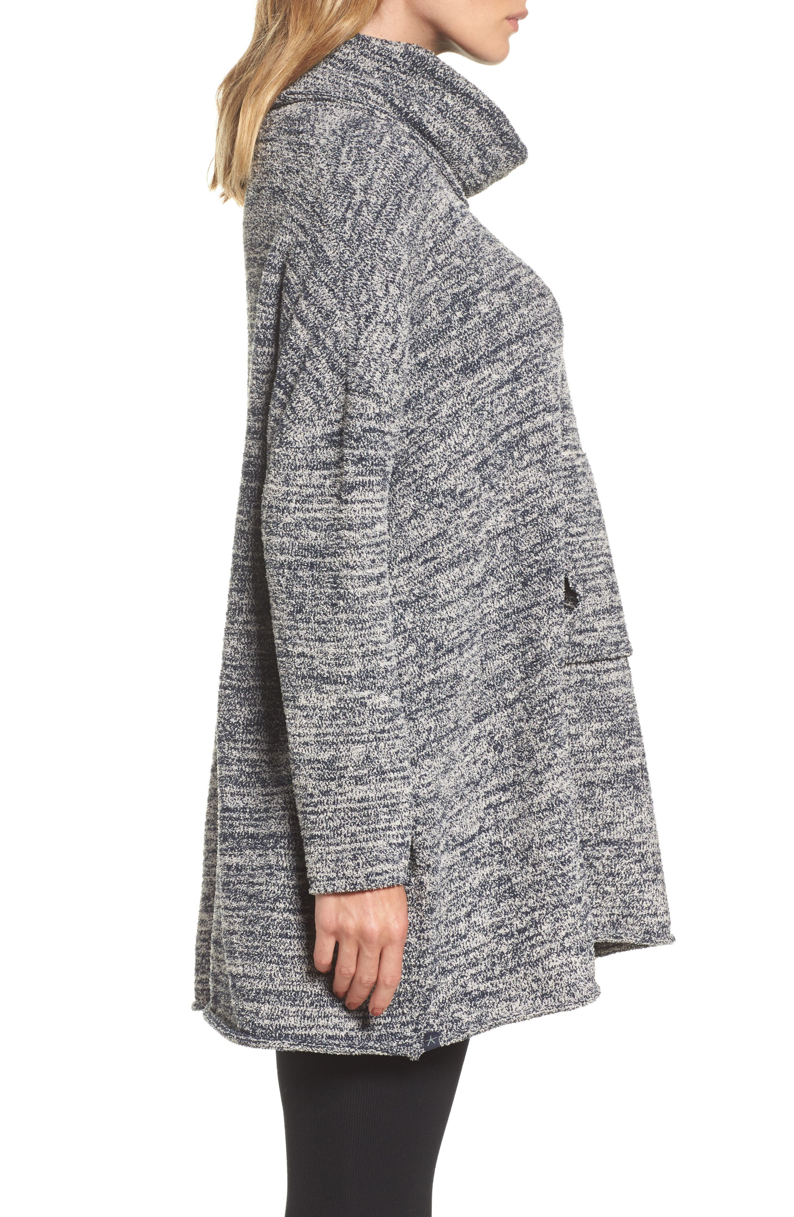 BAREFOOT DREAMS<SUP>®</SUP>, Cozychic<sup>®</sup> Lounge Pullover, Alternate thumbnail 3, color, INDIGO/ STONE HEATHERED