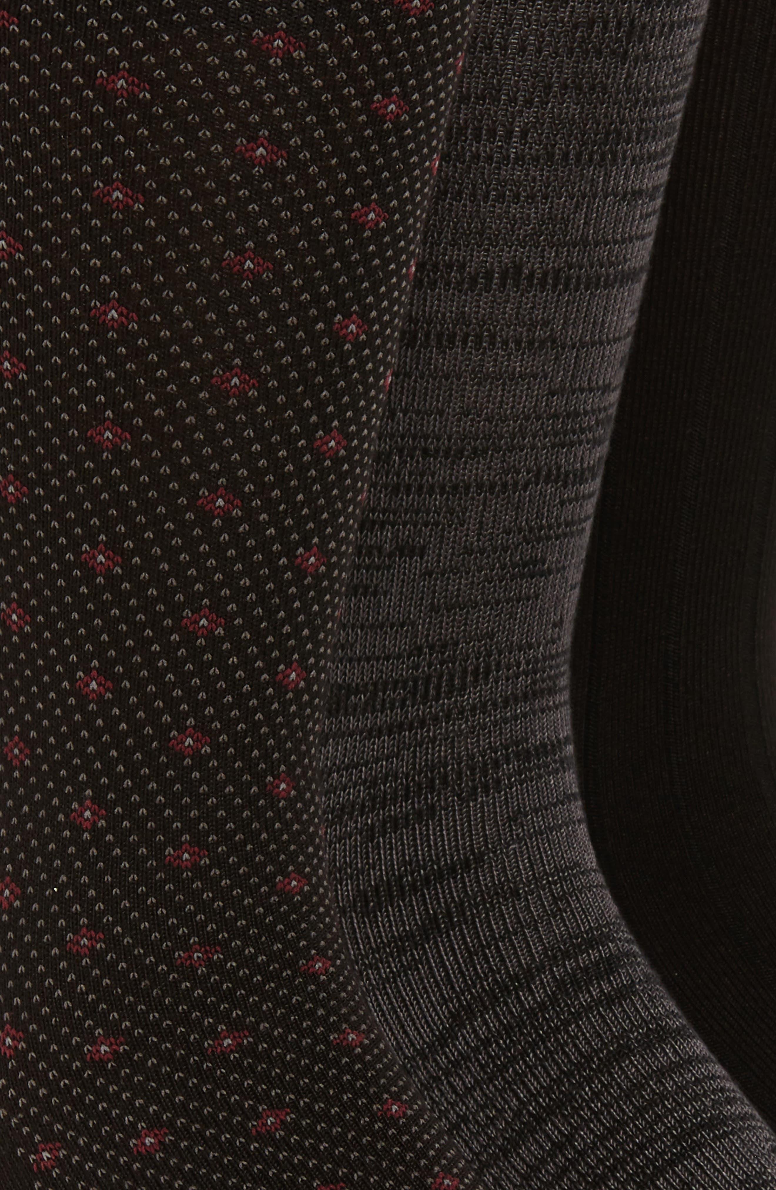POLO RALPH LAUREN, Supersoft Diamond Dot Assorted 3-Pack Socks, Alternate thumbnail 2, color, BLACK