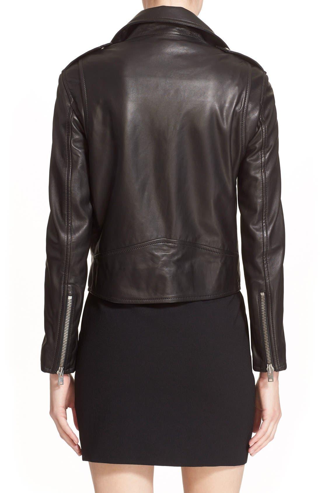 IRO, Lambskin Leather Moto Jacket, Alternate thumbnail 6, color, 001