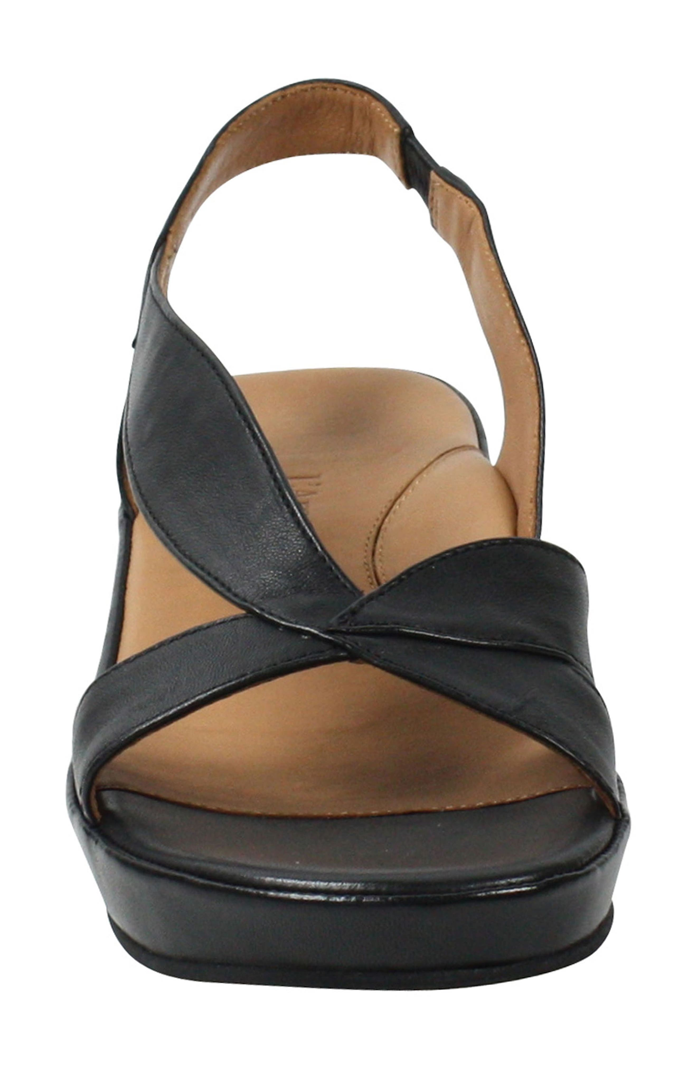 L'AMOUR DES PIEDS, Crotono Sandal, Alternate thumbnail 4, color, BLACK NAPPA LEATHER