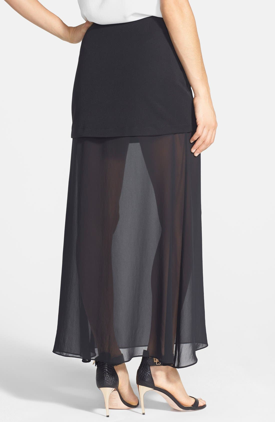 NIKKI RICH, 'Hematite' Chiffon Underlayer Skirt, Alternate thumbnail 2, color, 001
