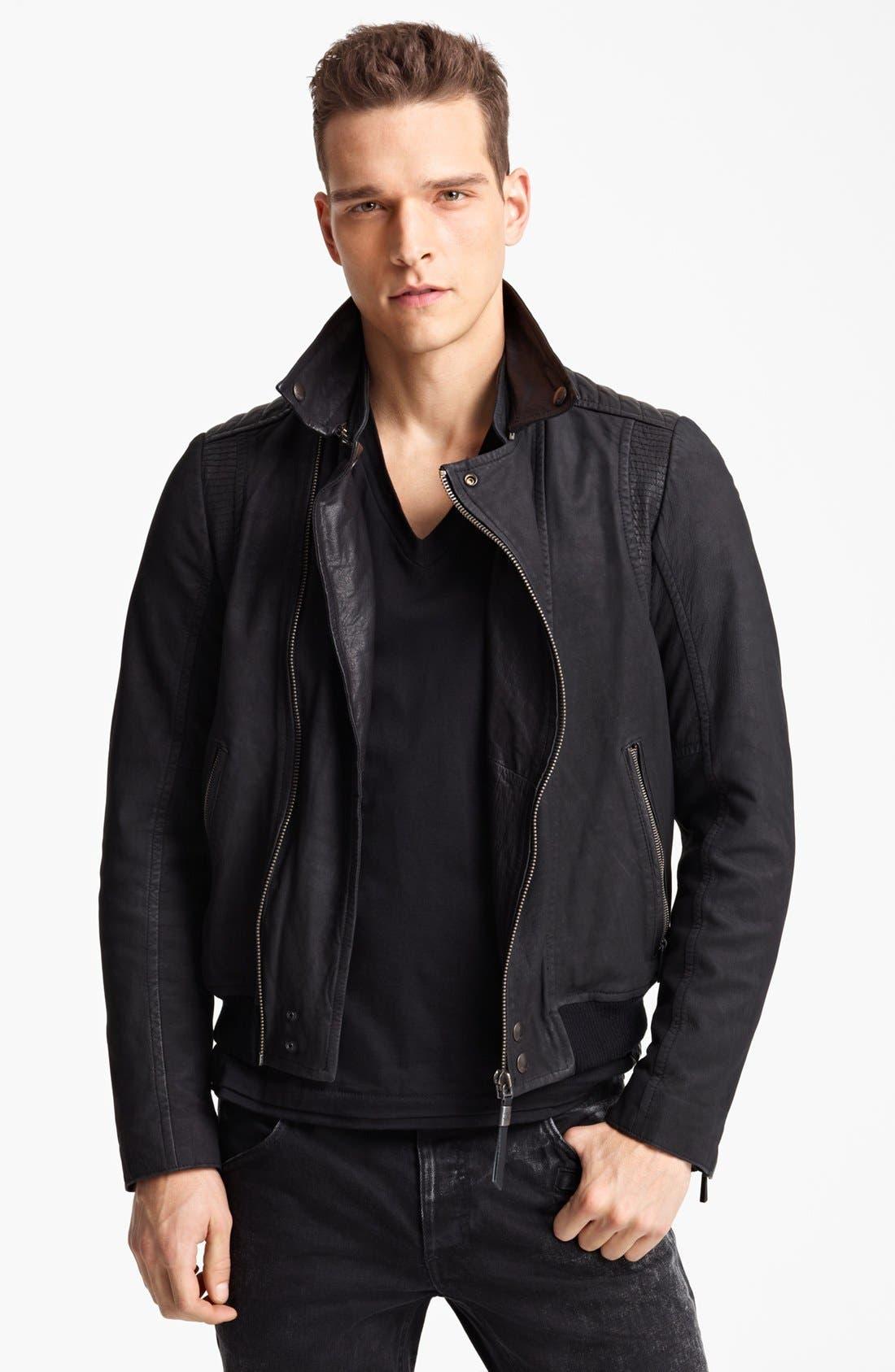 JUST CAVALLI, Leather Moto Jacket, Main thumbnail 1, color, 001
