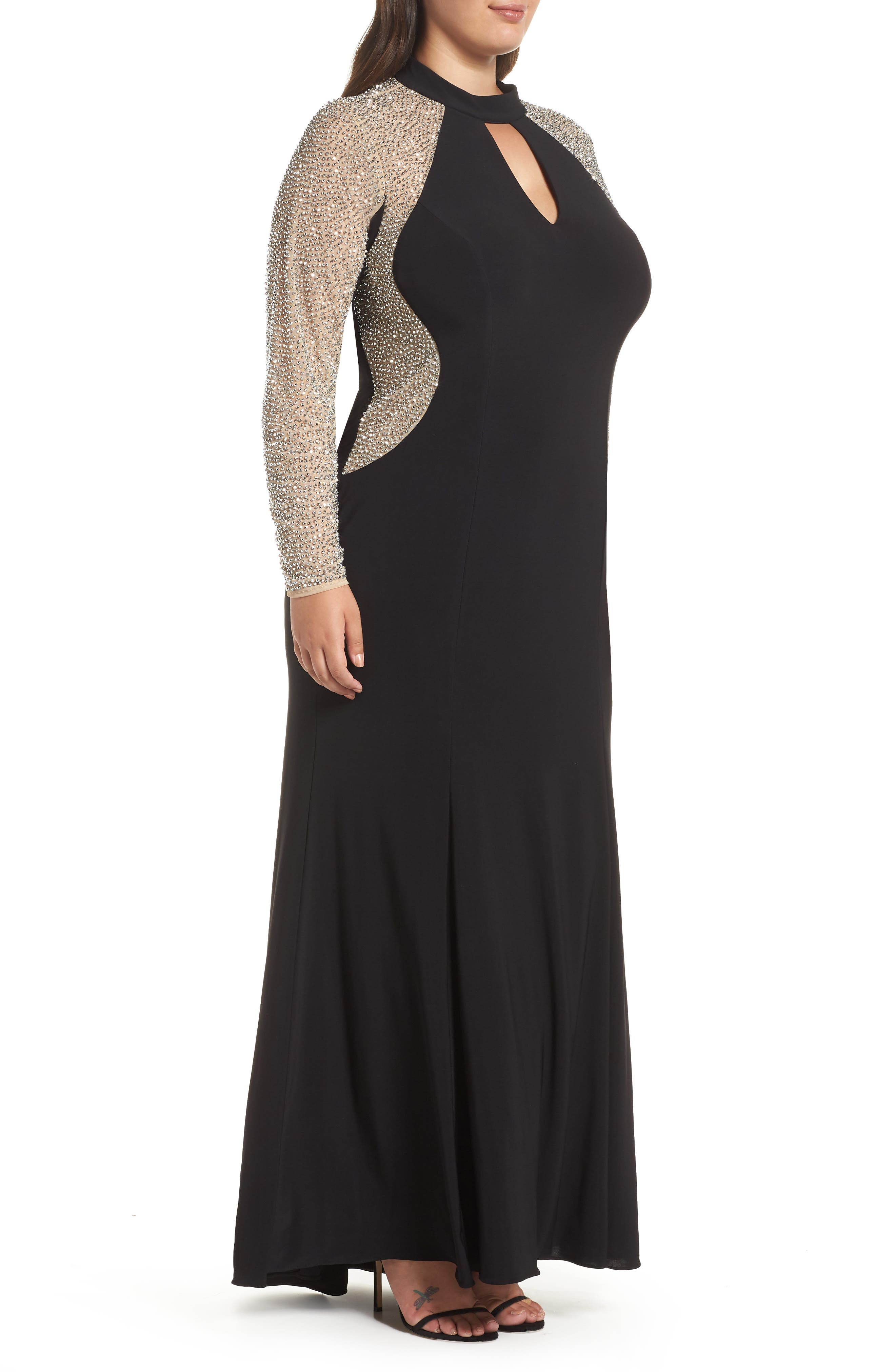 XSCAPE, Beaded A-Line Gown, Alternate thumbnail 4, color, BLACK/ NUDE/ SILVER