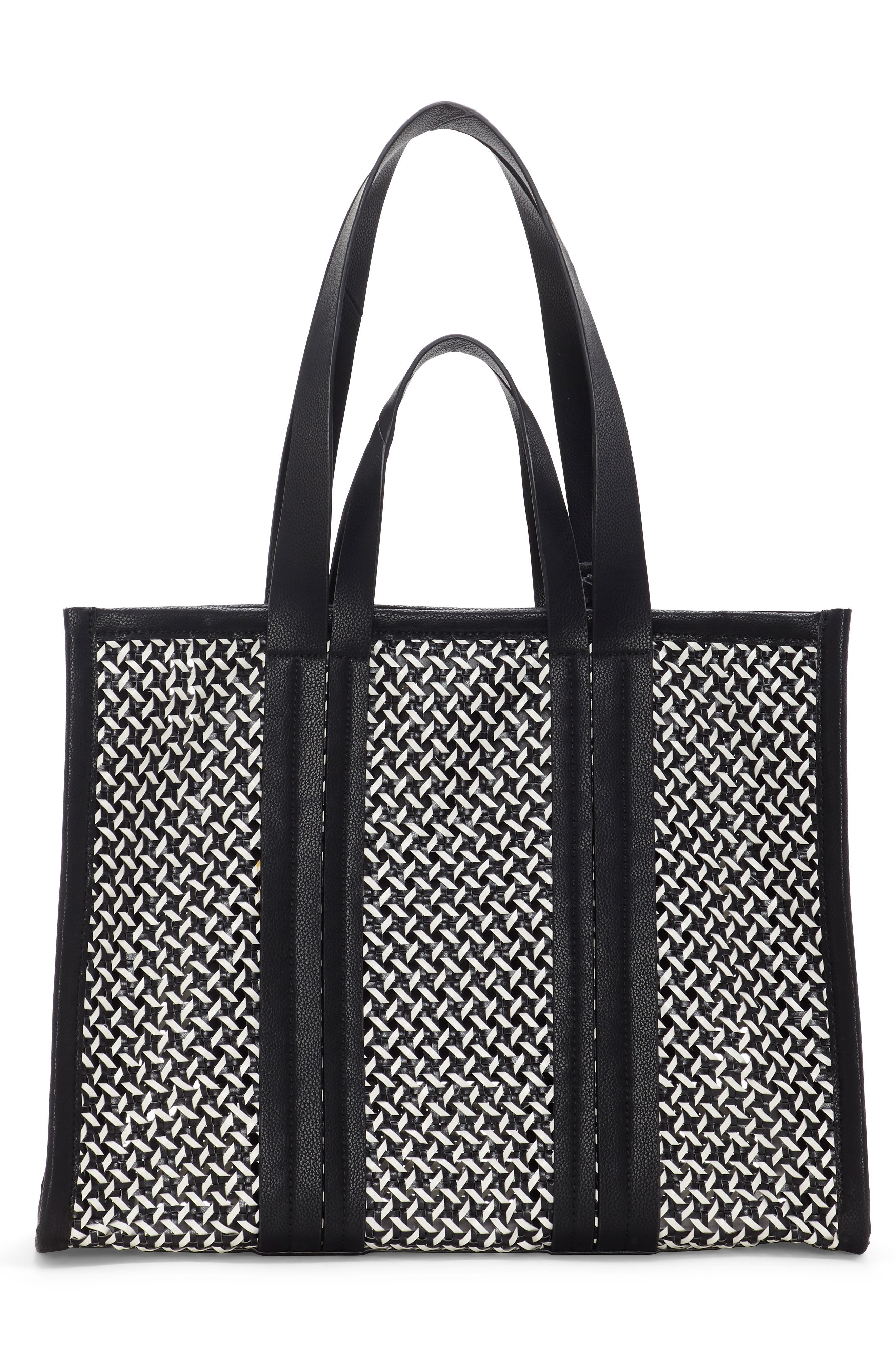 VINCE CAMUTO, Indra Woven Rattan & Leather Tote, Alternate thumbnail 2, color, 001
