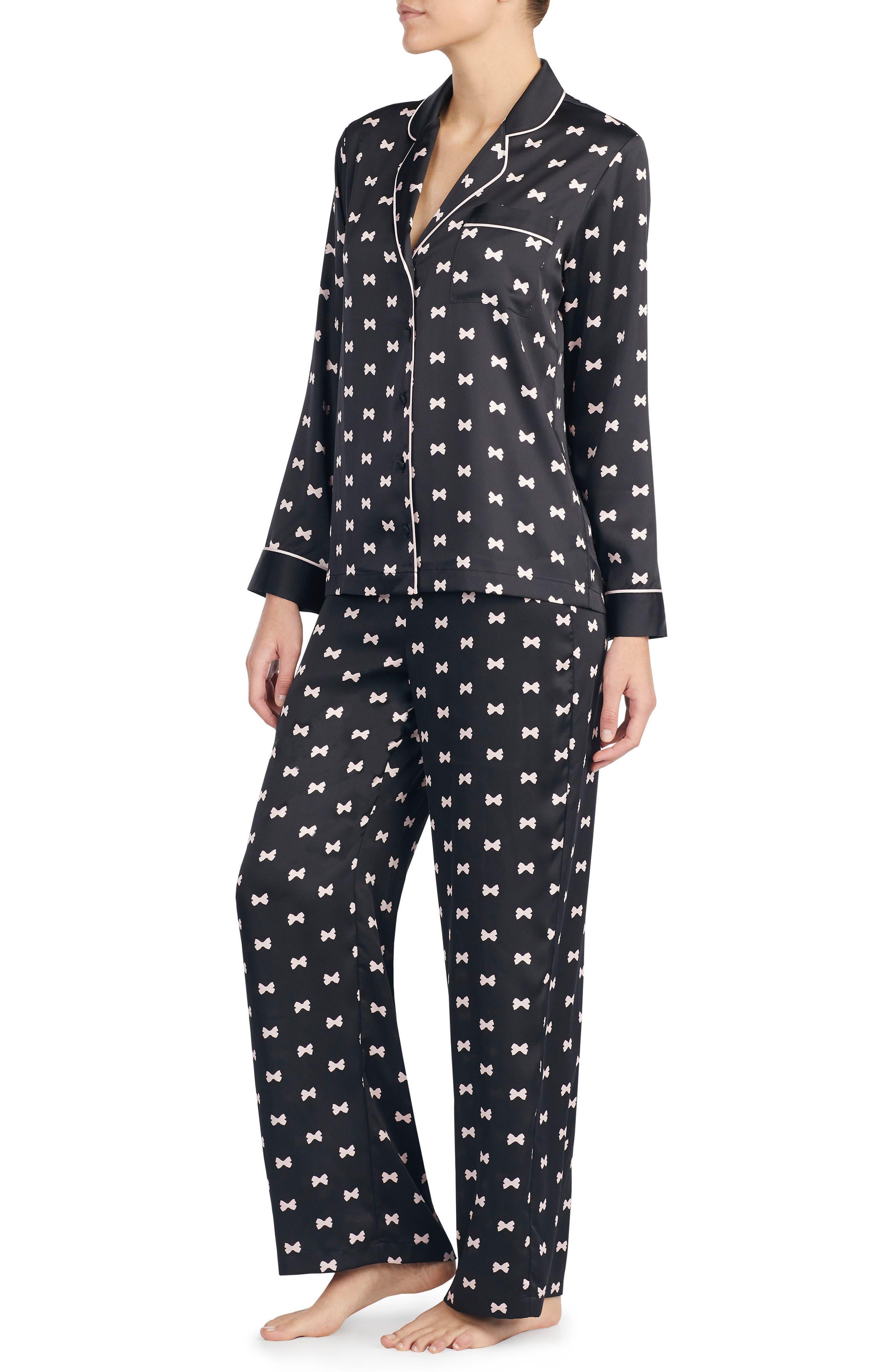 KATE SPADE NEW YORK, print charmeuse pajamas, Alternate thumbnail 2, color, BOWS