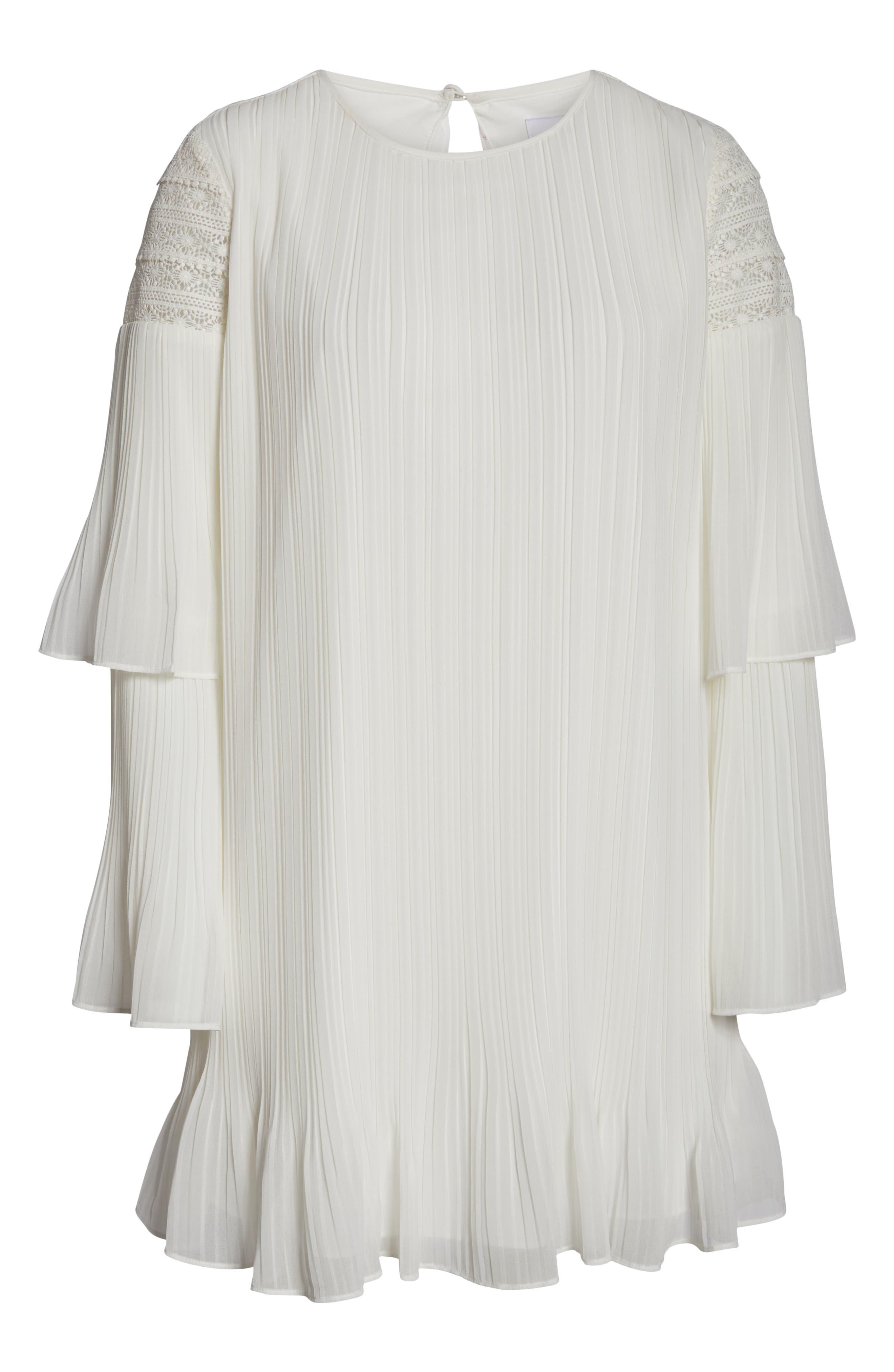 ALI & JAY, Waterlily Pleated Minidress, Alternate thumbnail 7, color, WHITE