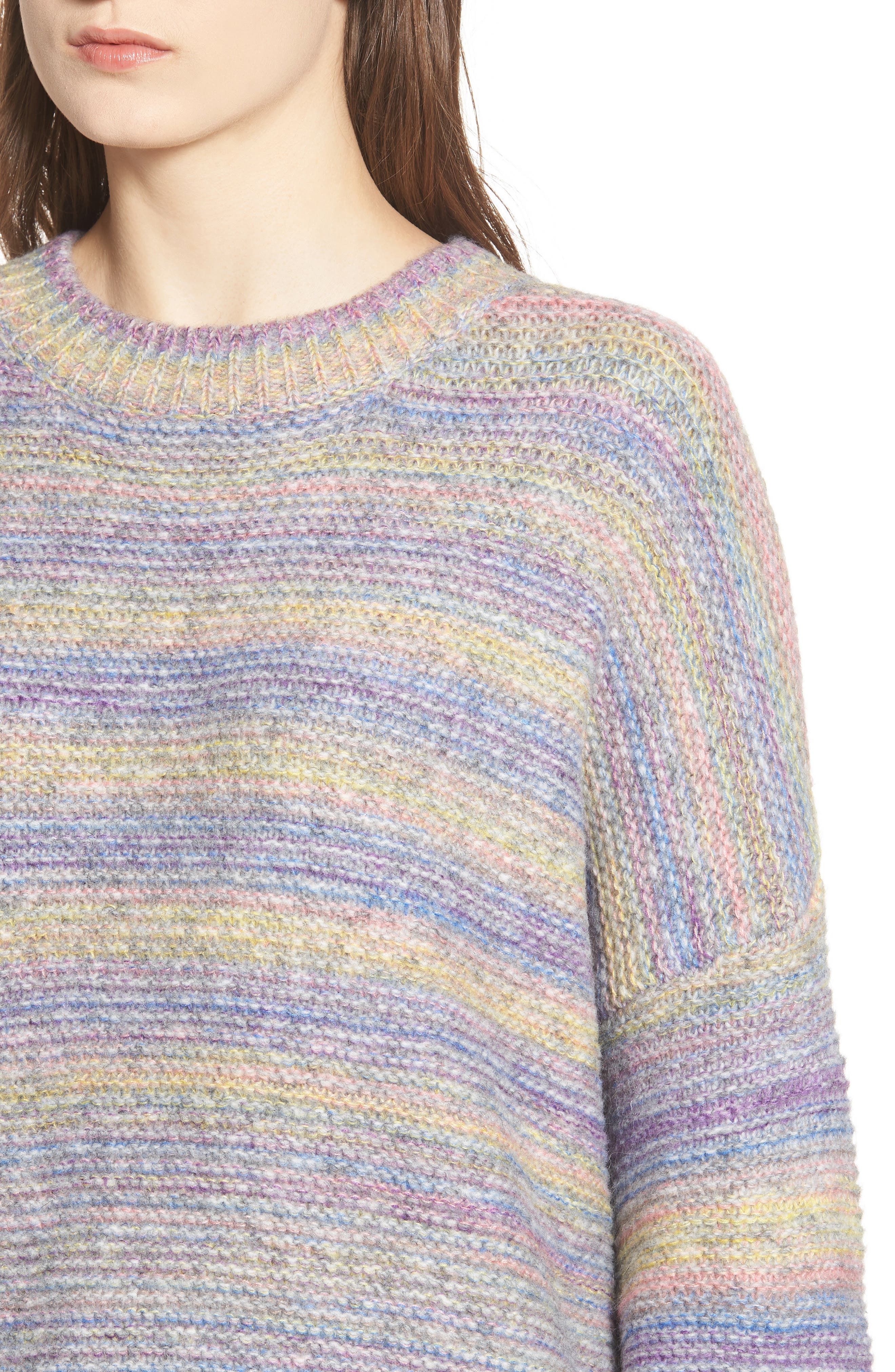 PROSPERITY DENIM, Rainbow Marl Sweater, Alternate thumbnail 4, color, YELLOW