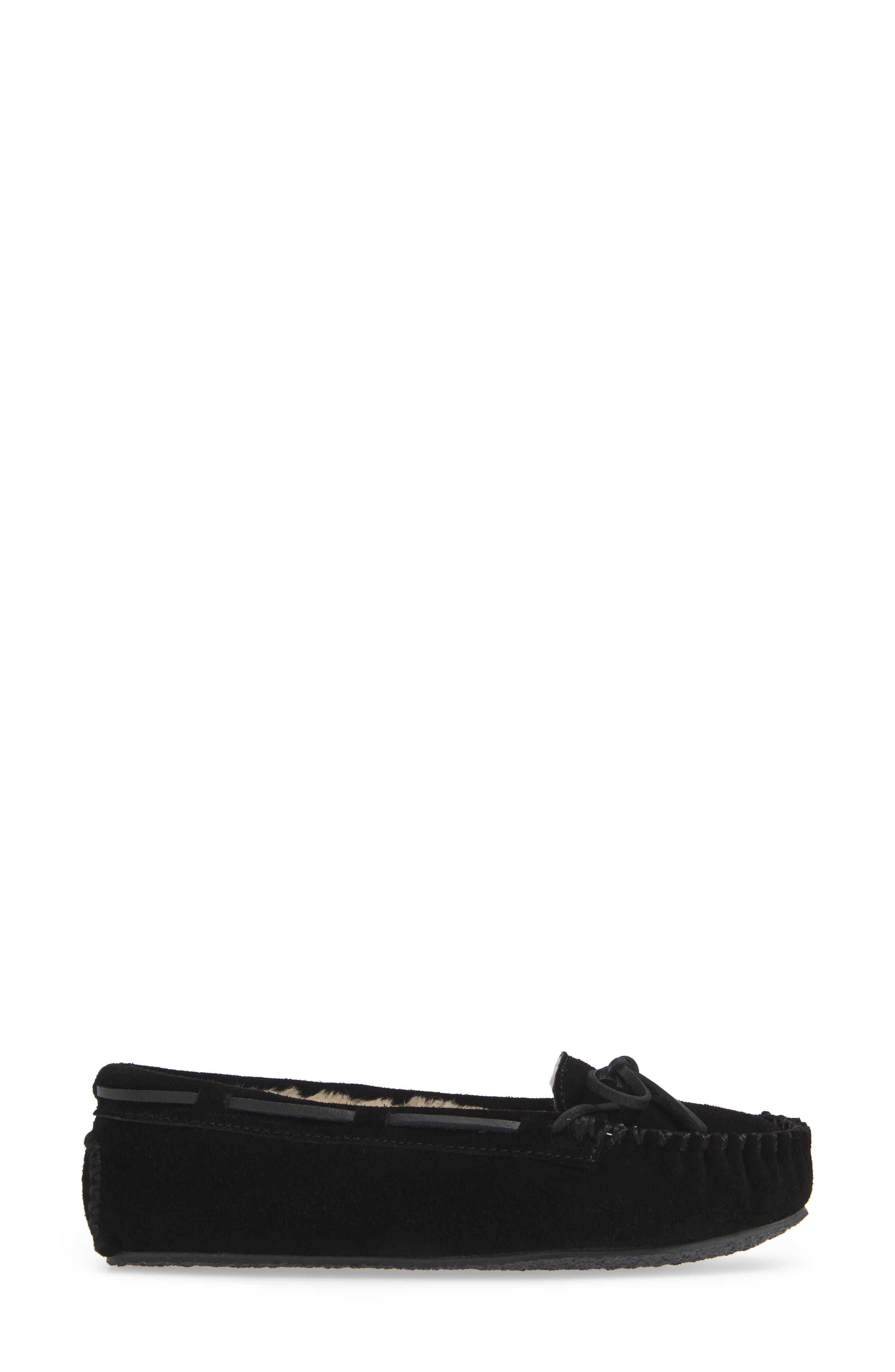 MINNETONKA, 'Cally' Slipper, Alternate thumbnail 3, color, BLACK SUEDE