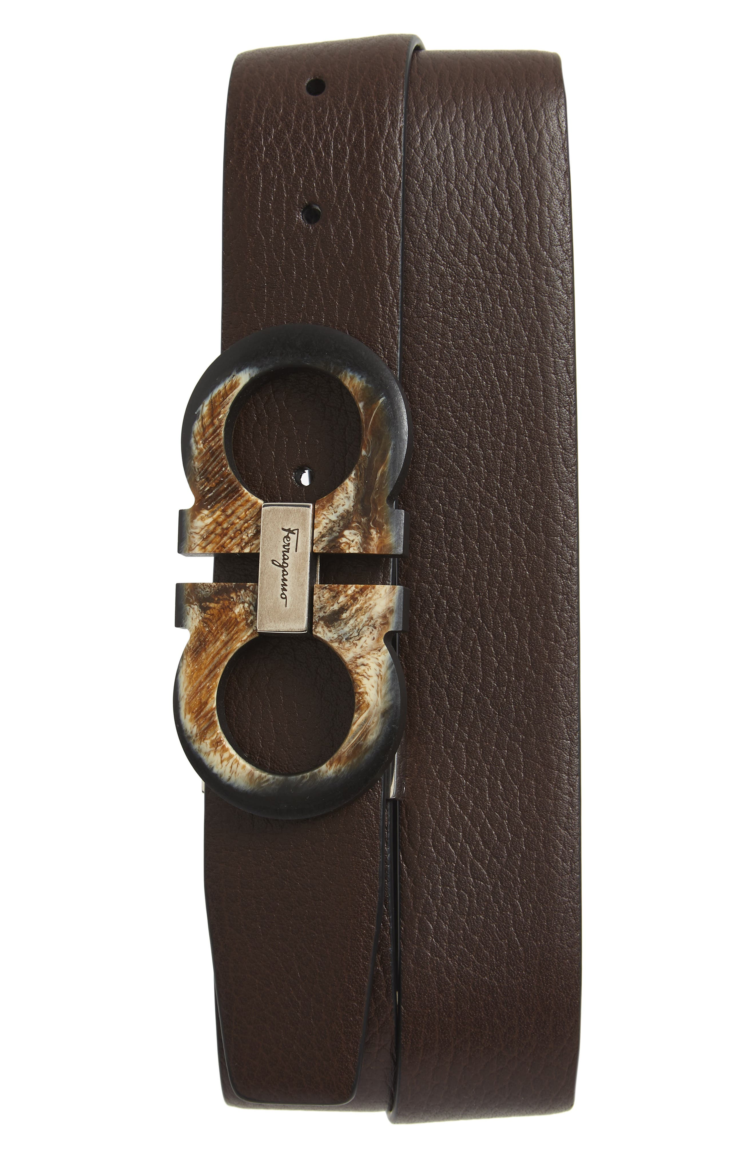 SALVATORE FERRAGAMO, Double Gancio Reversible Leather Belt, Main thumbnail 1, color, HICKORY/ BLACK