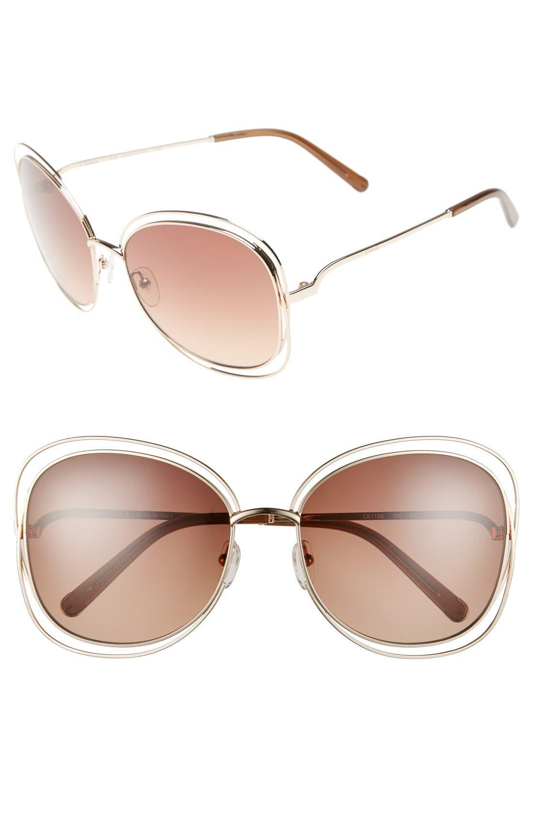 CHLOÉ, Carlina 60mm Gradient Les Sunglasses, Main thumbnail 1, color, ROSE GOLD/ BROWN
