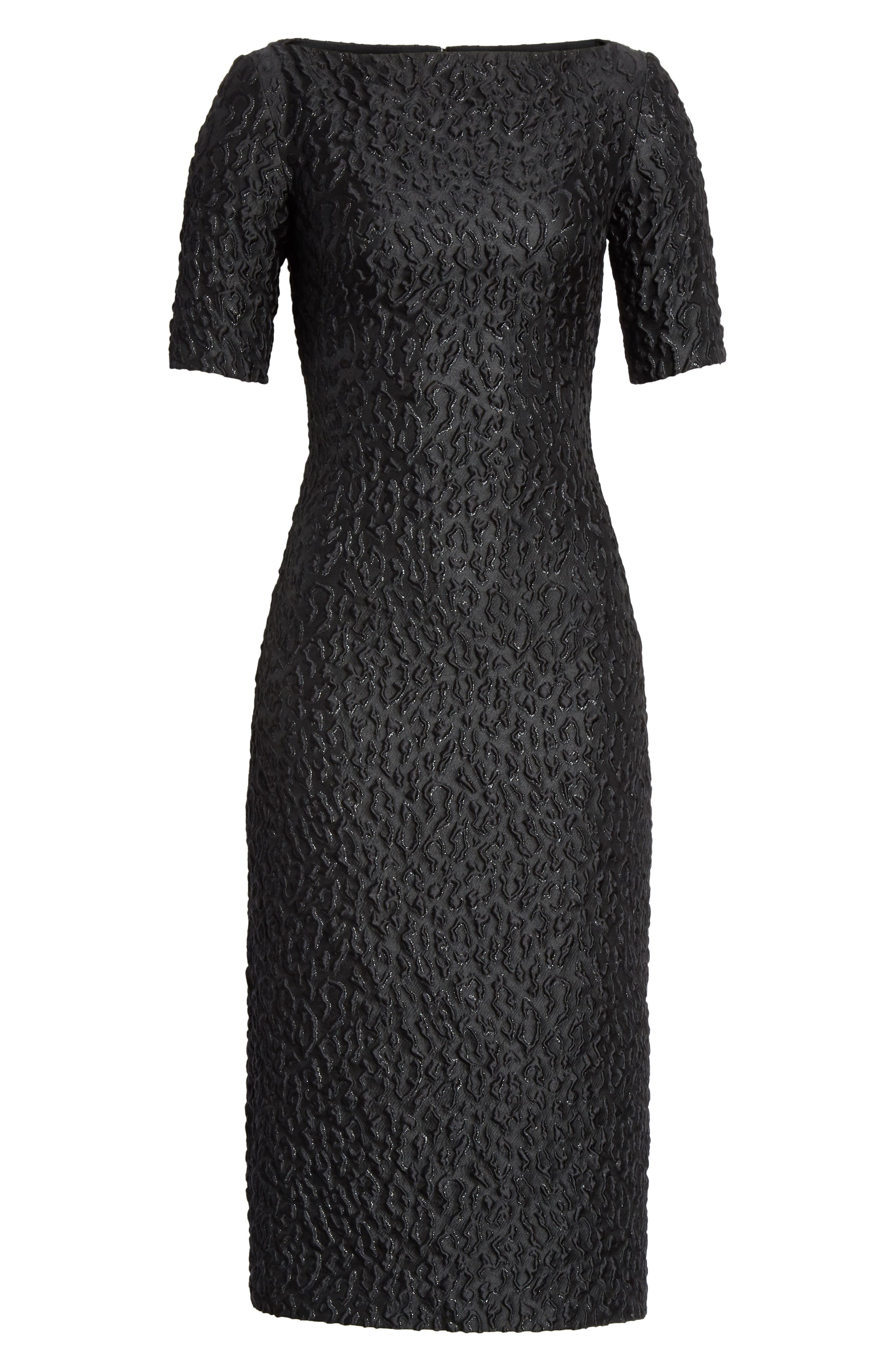 BRANDON MAXWELL, Leopard Jacquard Sheath Dress, Alternate thumbnail 7, color, BLACK