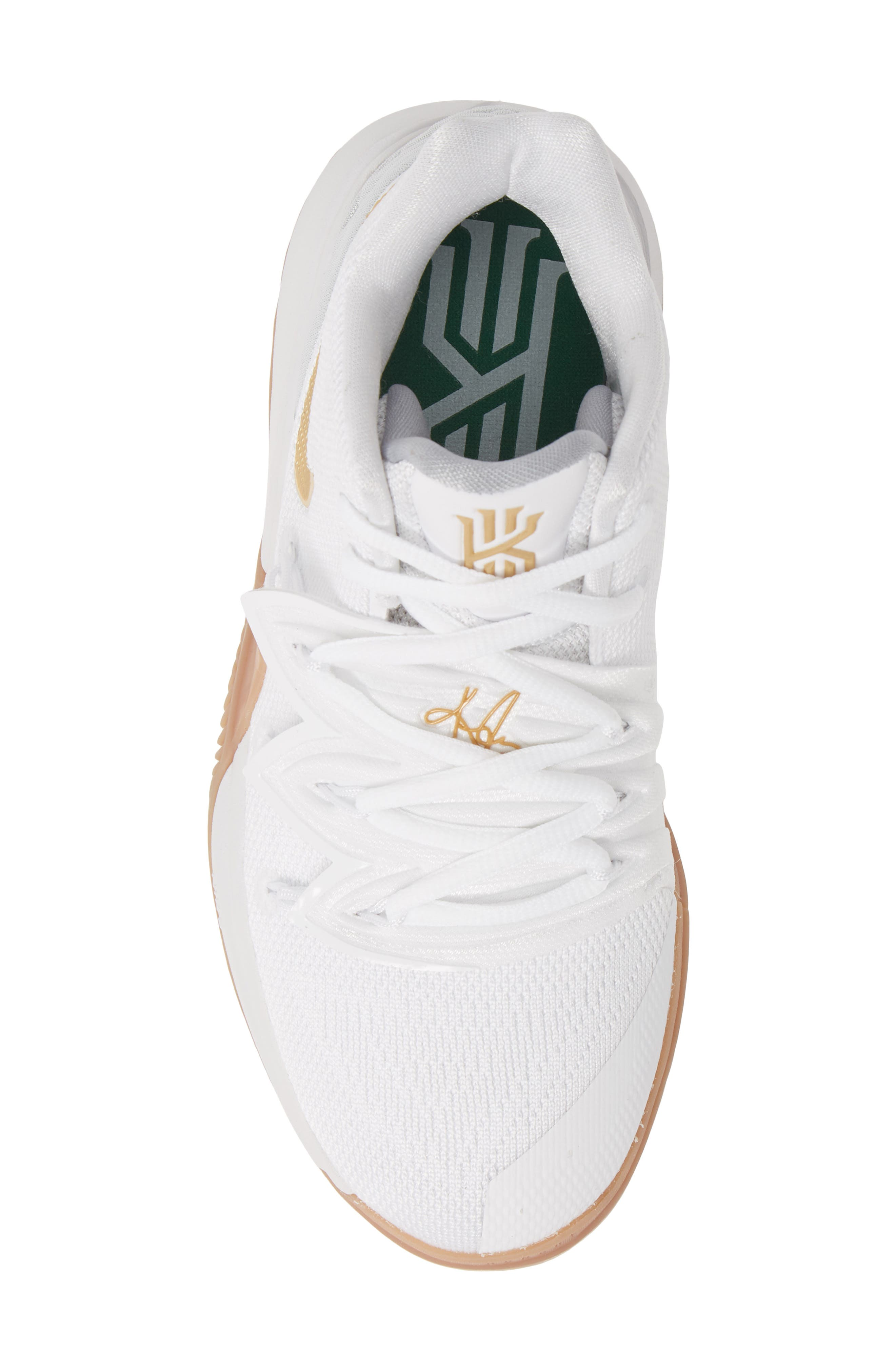 NIKE, Kyrie 5 Basketball Shoe, Alternate thumbnail 5, color, WHITE/ METALLIC GOLD-PLATINUM