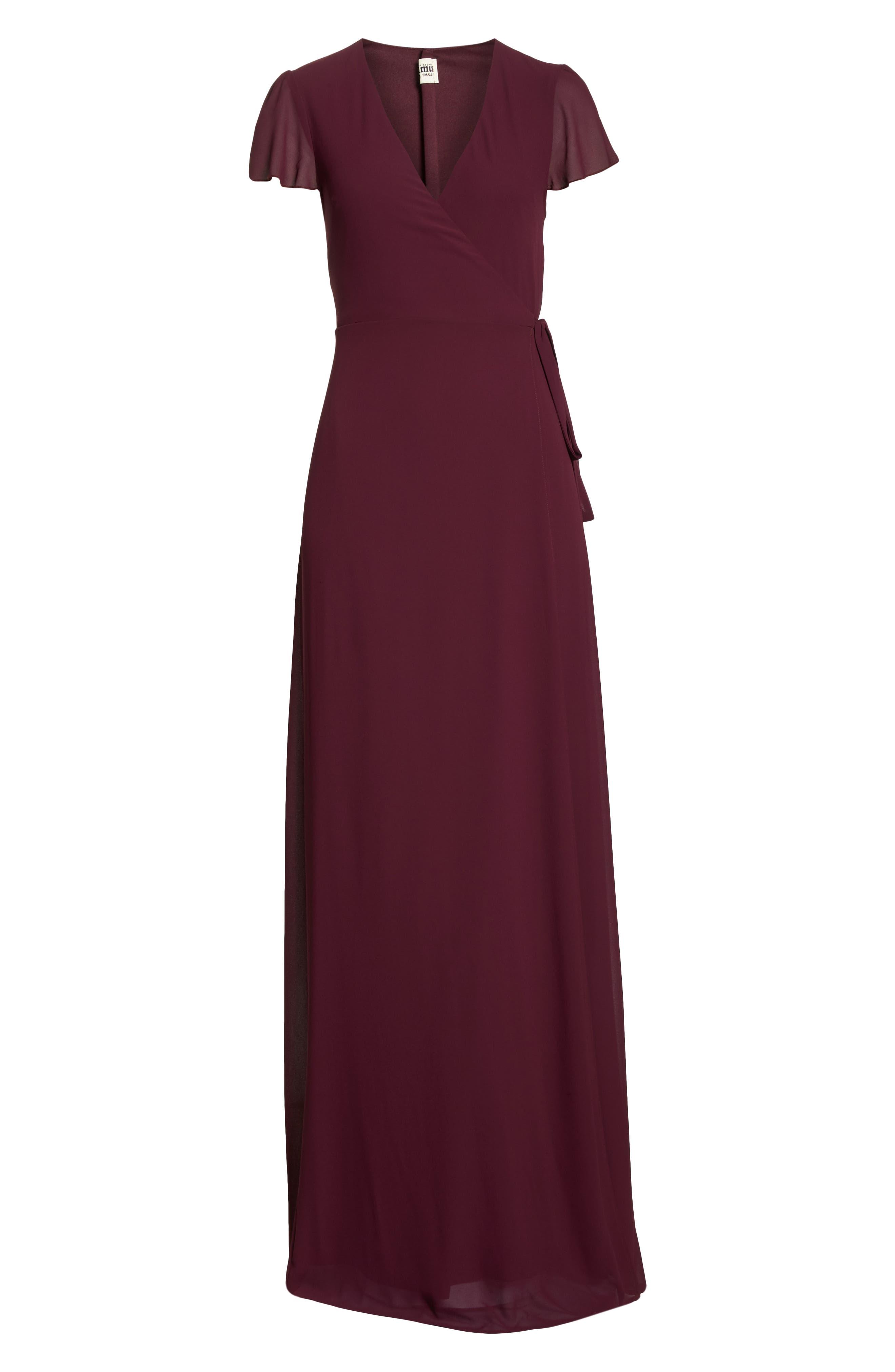 SHOW ME YOUR MUMU, Noelle Wrap Dress, Alternate thumbnail 7, color, MERLOT CHIFFON