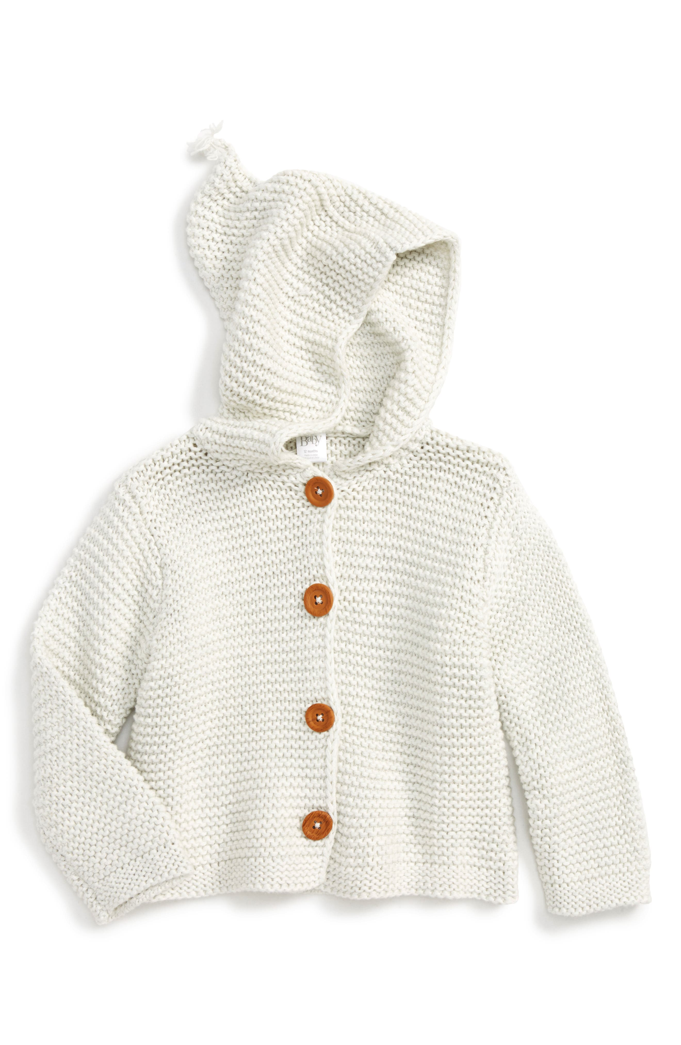 NORDSTROM BABY, Organic Cotton Hooded Cardigan, Main thumbnail 1, color, IVORY EGRET HEATHER
