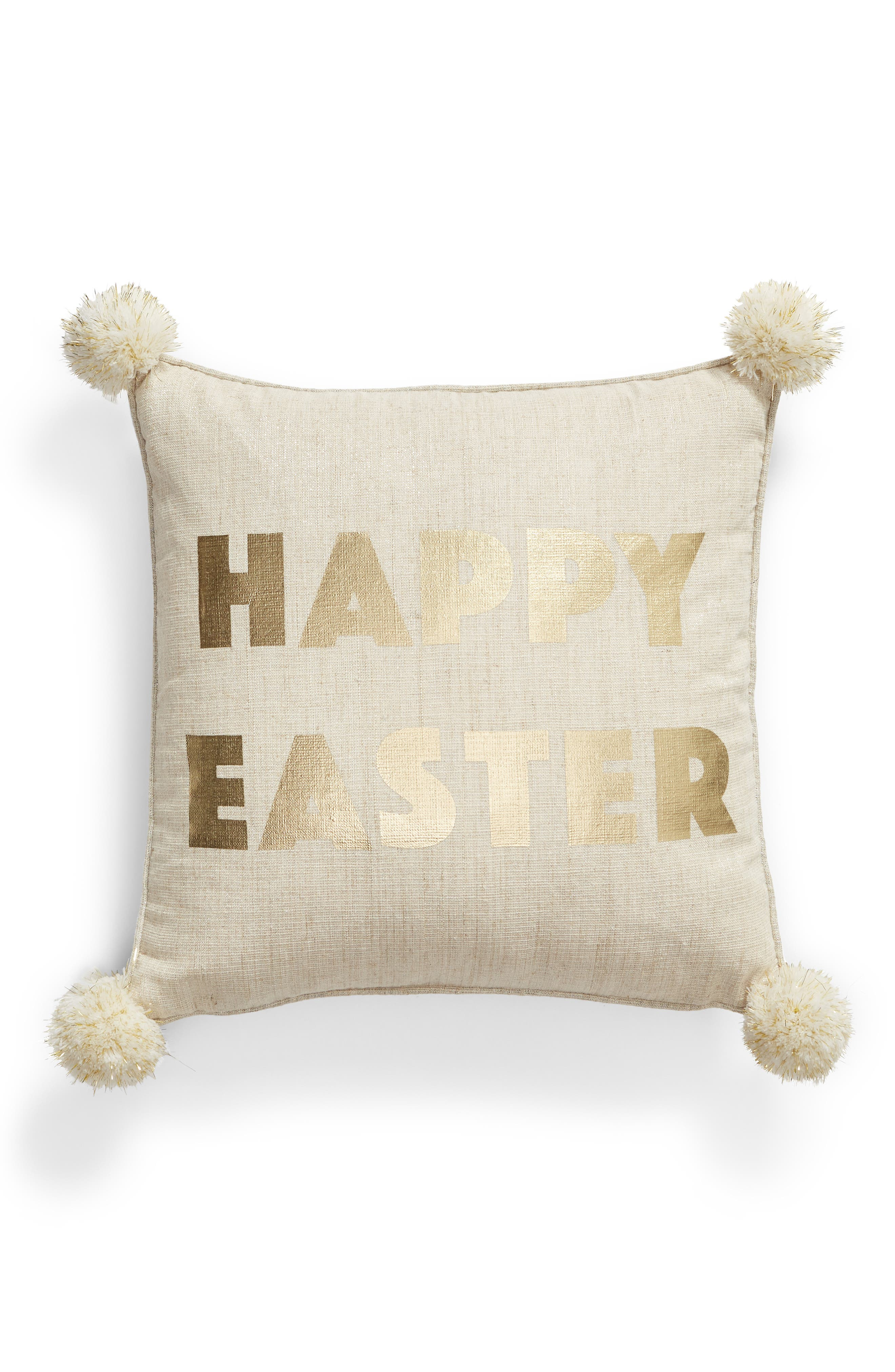 LEVTEX, Happy Easter Accent Pillow, Main thumbnail 1, color, NATURAL