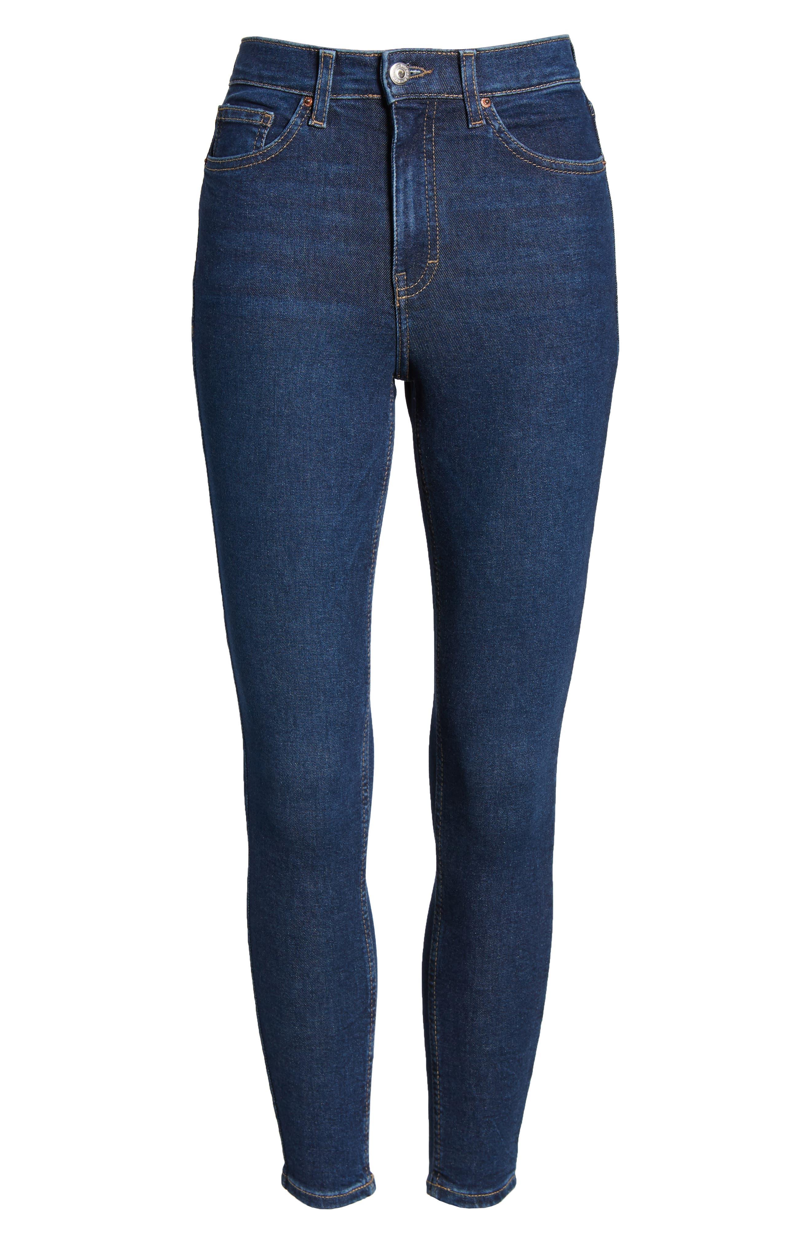 TOPSHOP, MOTO Jamie High Waist Skinny Jeans, Alternate thumbnail 7, color, INDIGO