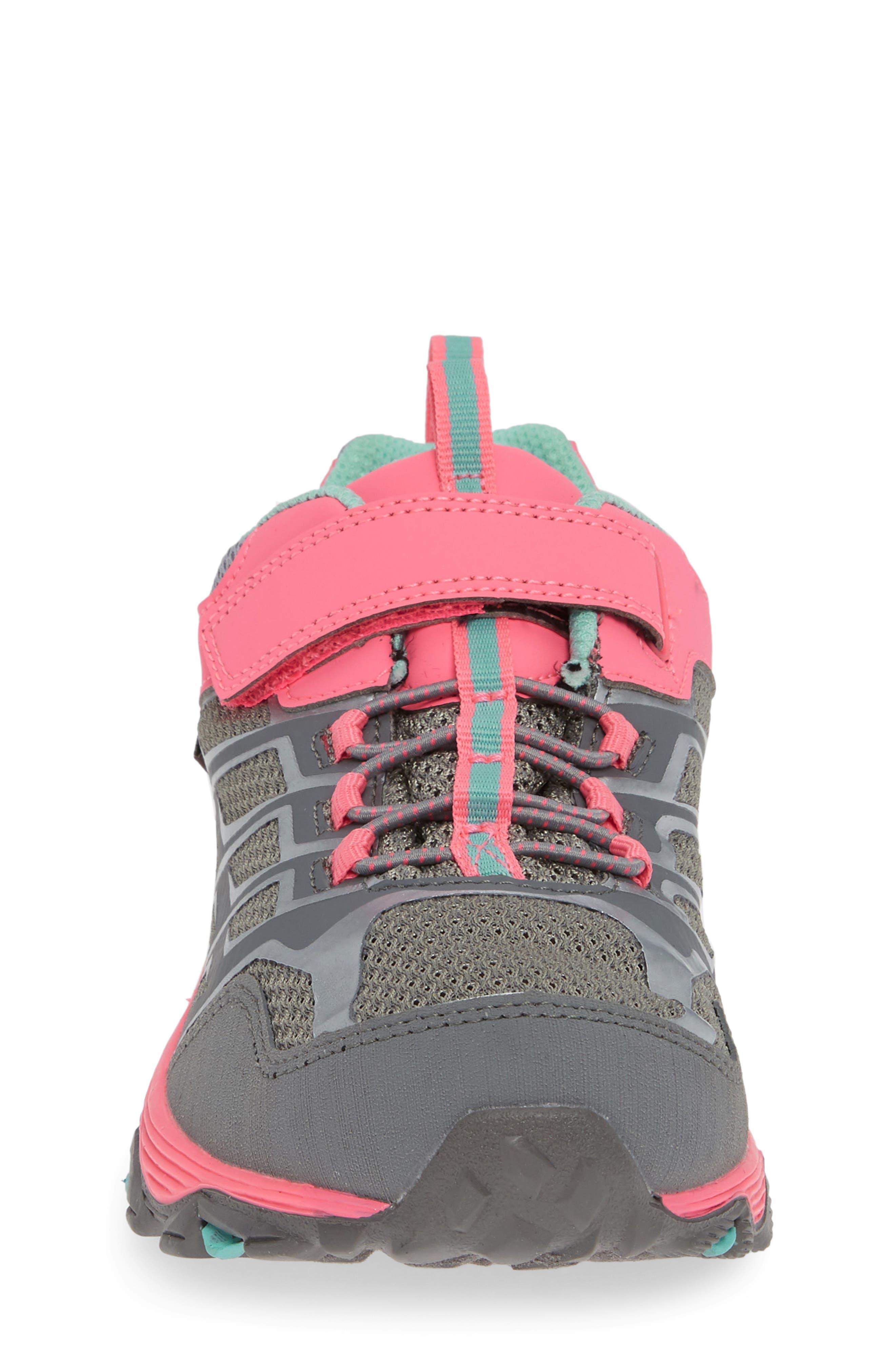 MERRELL, Moab FST Polar Low Waterproof Sneaker, Alternate thumbnail 4, color, GREY/ CORAL