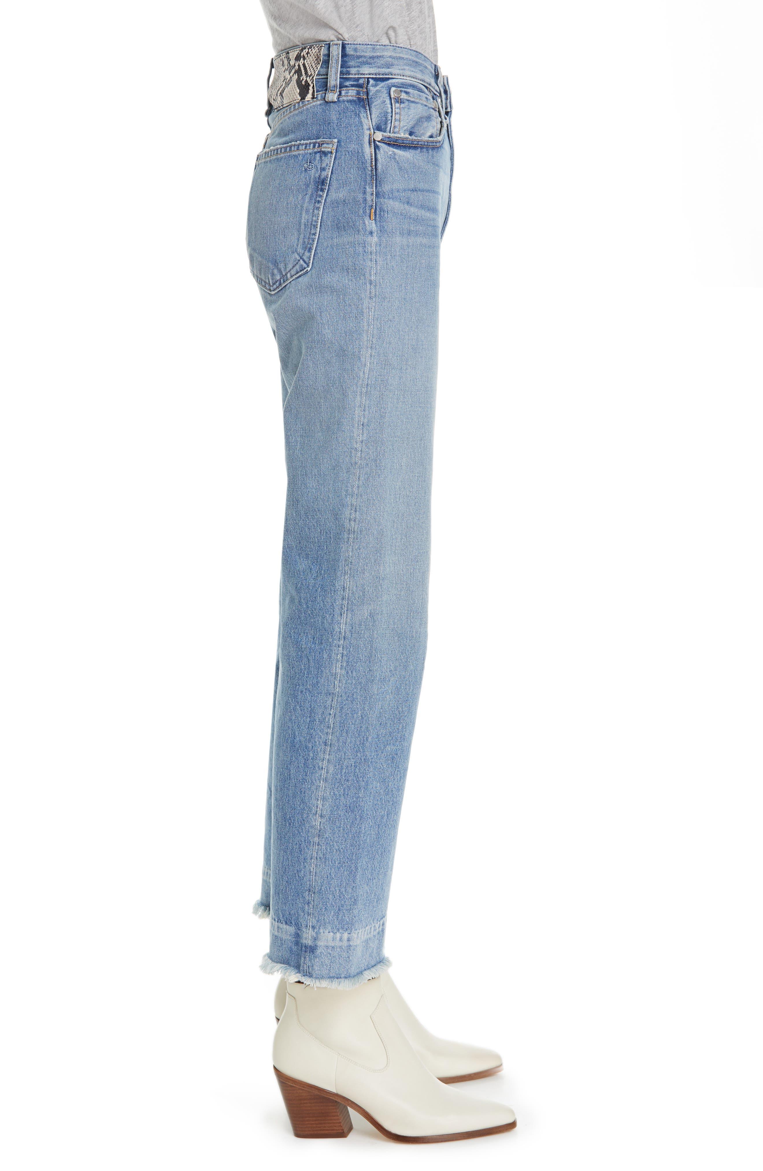 RAG & BONE, Ruth Super High Waist Straight Leg Jeans, Alternate thumbnail 3, color, BABY