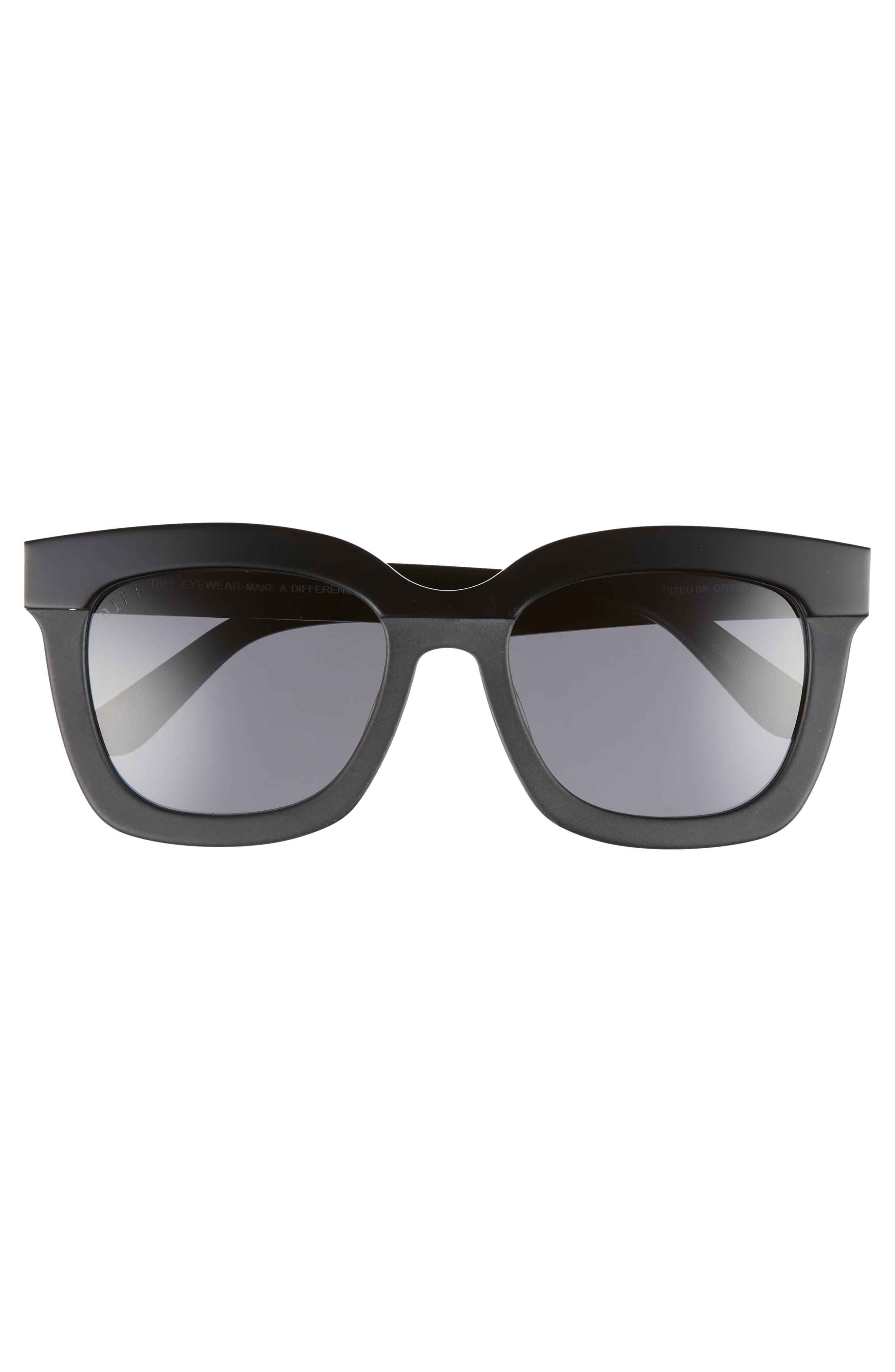 DIFF, Carson 53mm Polarized Square Sunglasses, Alternate thumbnail 3, color, BLACK/ GREY