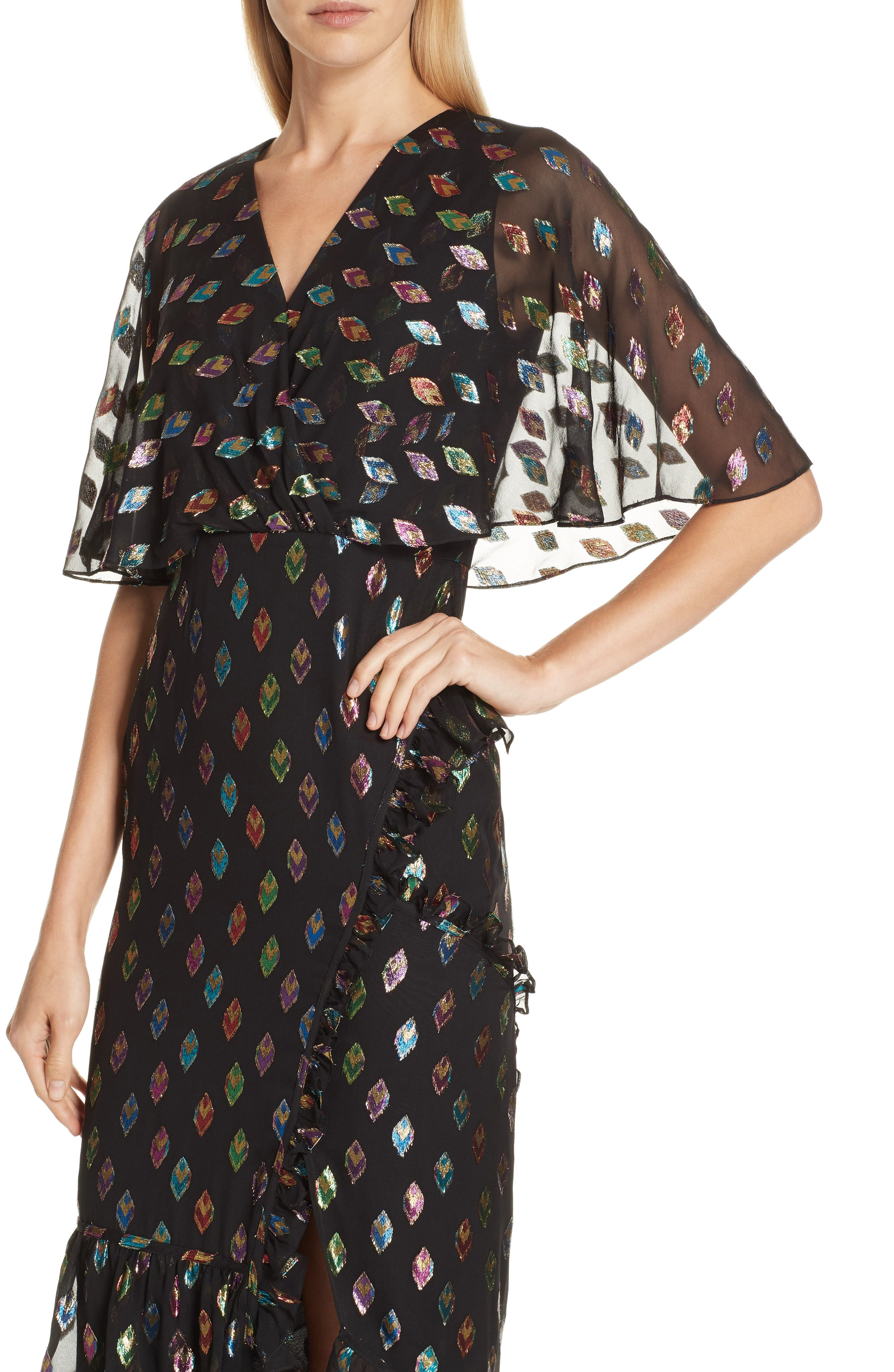 SALONI, Ruffle Hem Silk Blend Dress, Alternate thumbnail 4, color, 003