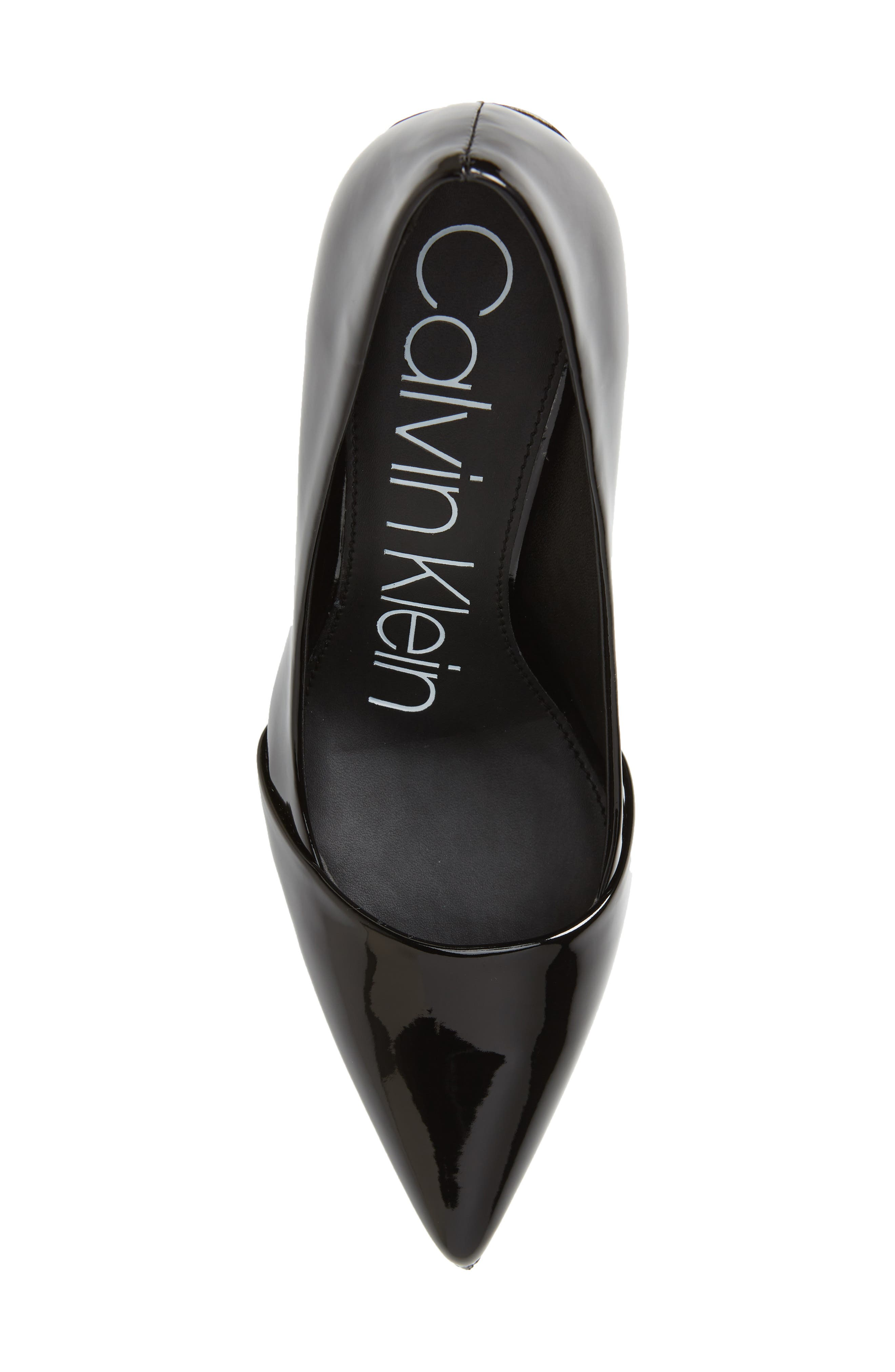 CALVIN KLEIN, Roslyn Pointed Toe Pump, Alternate thumbnail 5, color, BLACK PATENT LEATHER