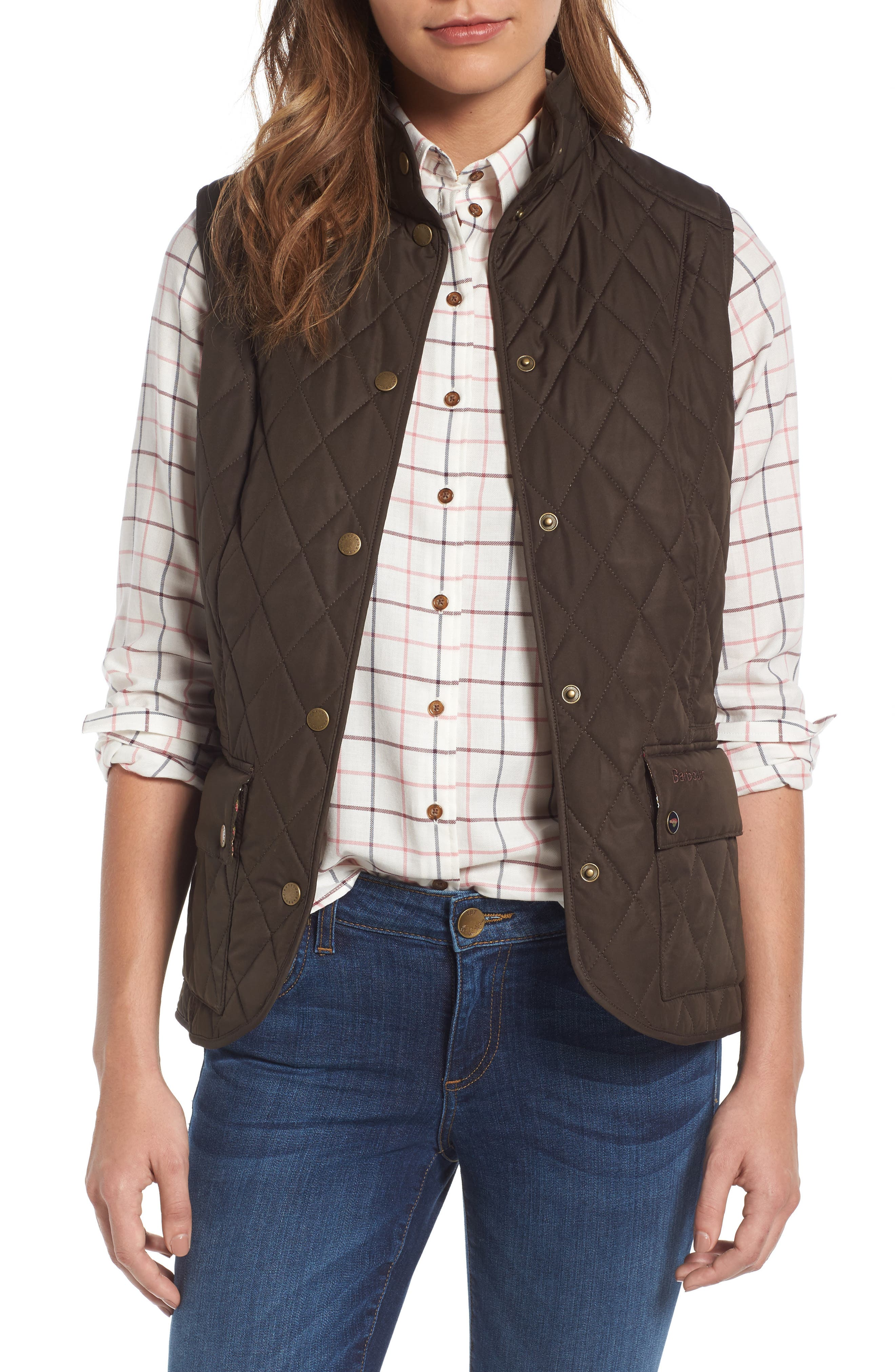 BARBOUR, Saddleworth Quilted Vest, Main thumbnail 1, color, 340