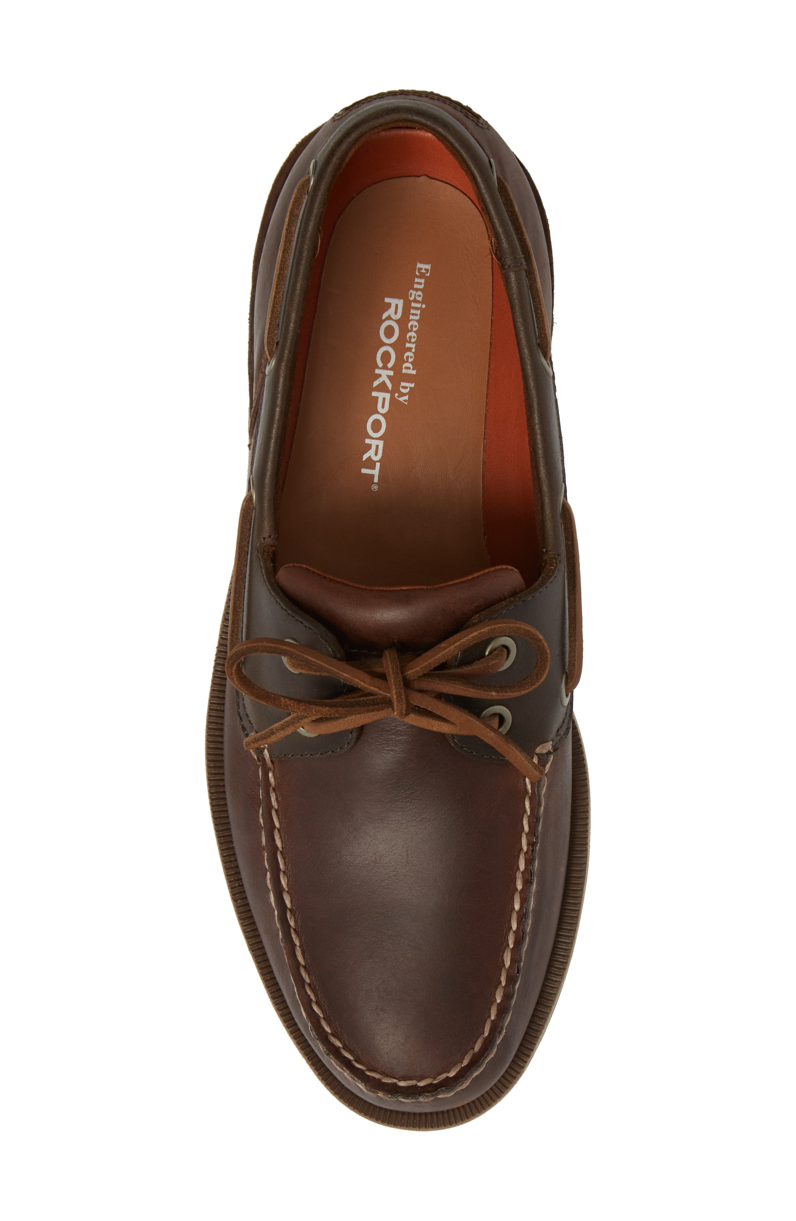 ROCKPORT, 'Perth' Boat Shoe, Alternate thumbnail 5, color, DARK BROWN LEATHER