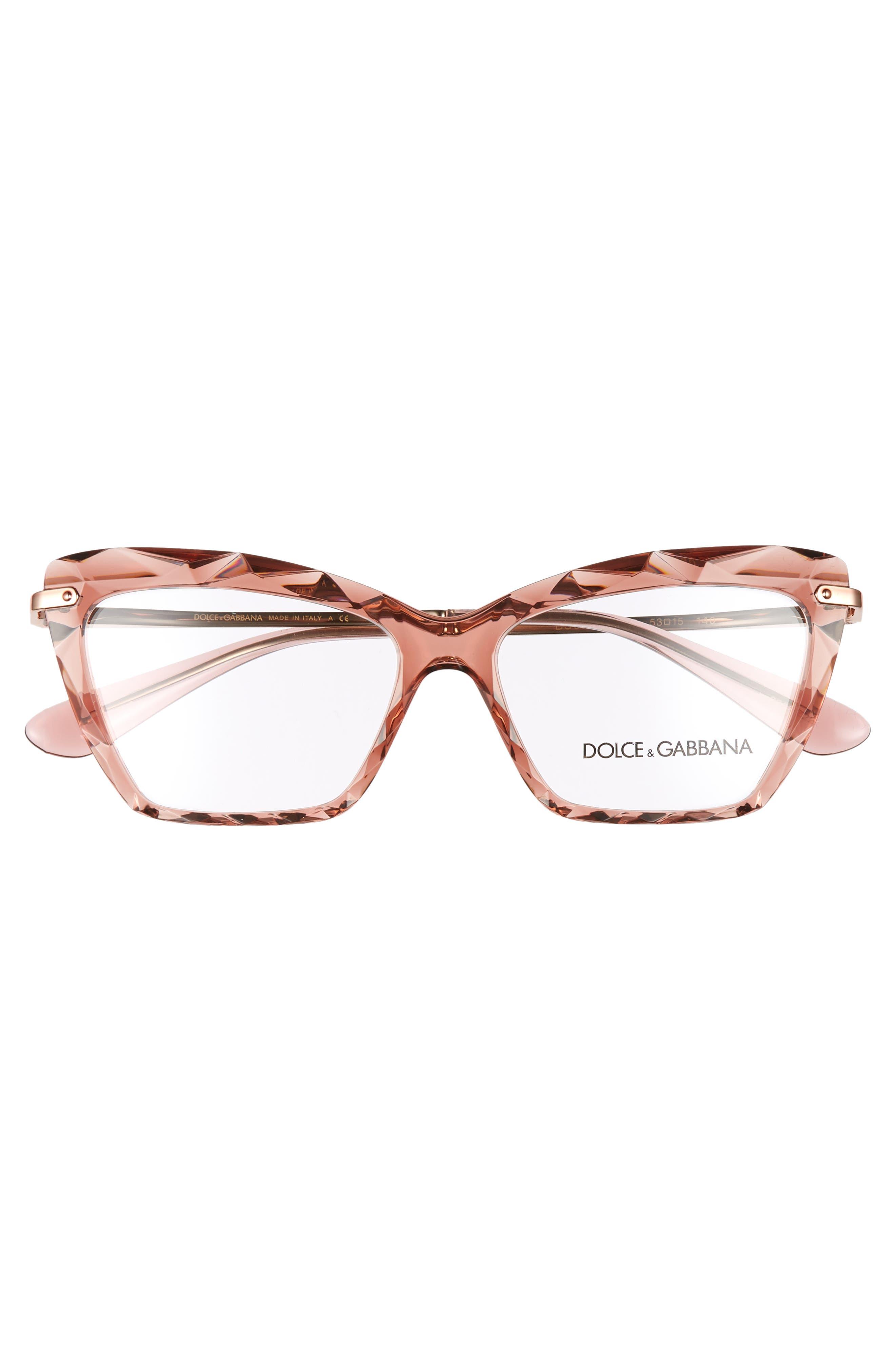 DOLCE&GABBANA, 53mm Cat Eye Optical Glasses, Alternate thumbnail 3, color, TRANSPARENT PINK