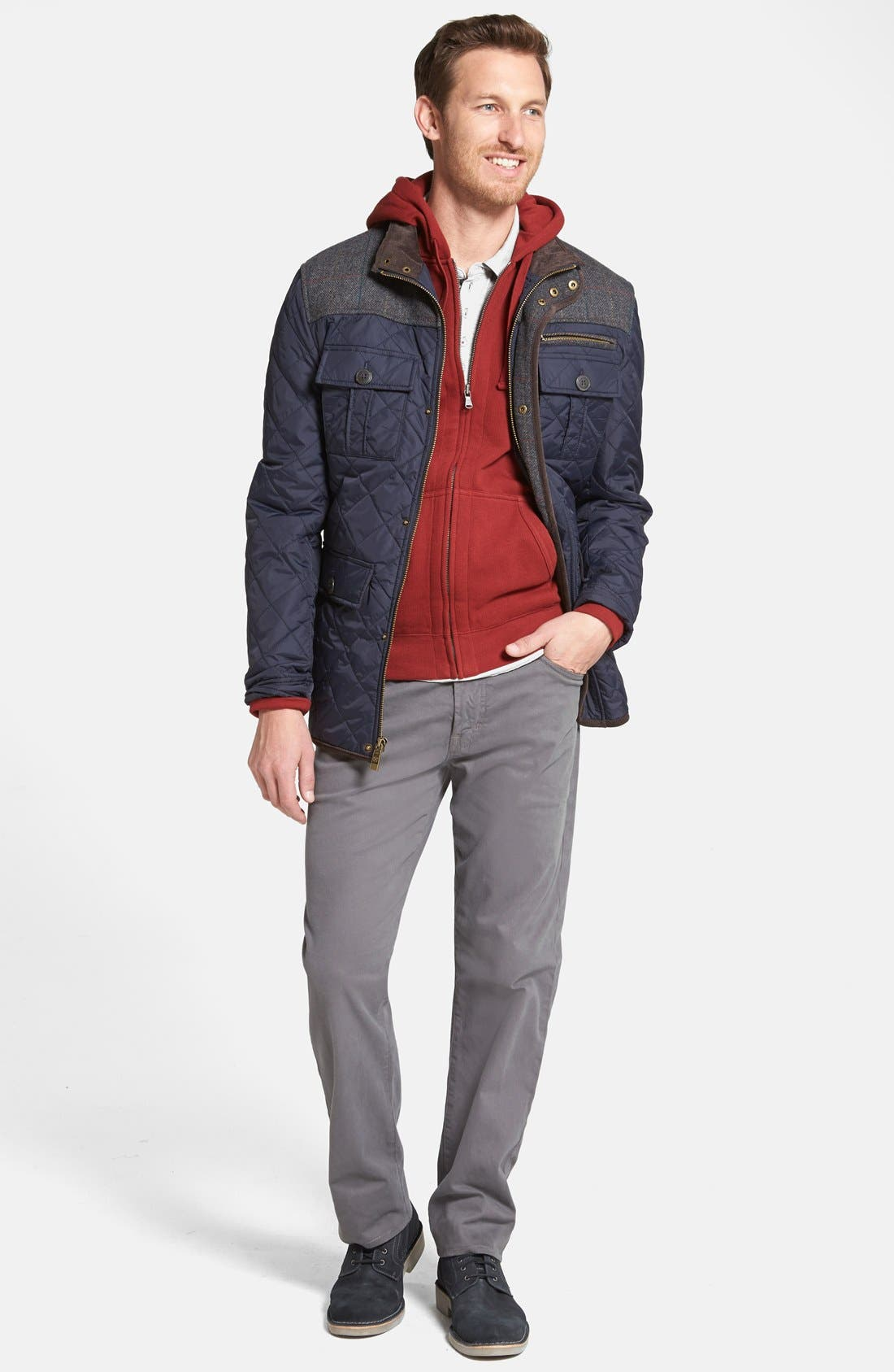 VINCE CAMUTO, Diamond Quilted Full Zip Jacket, Alternate thumbnail 11, color, NAVY