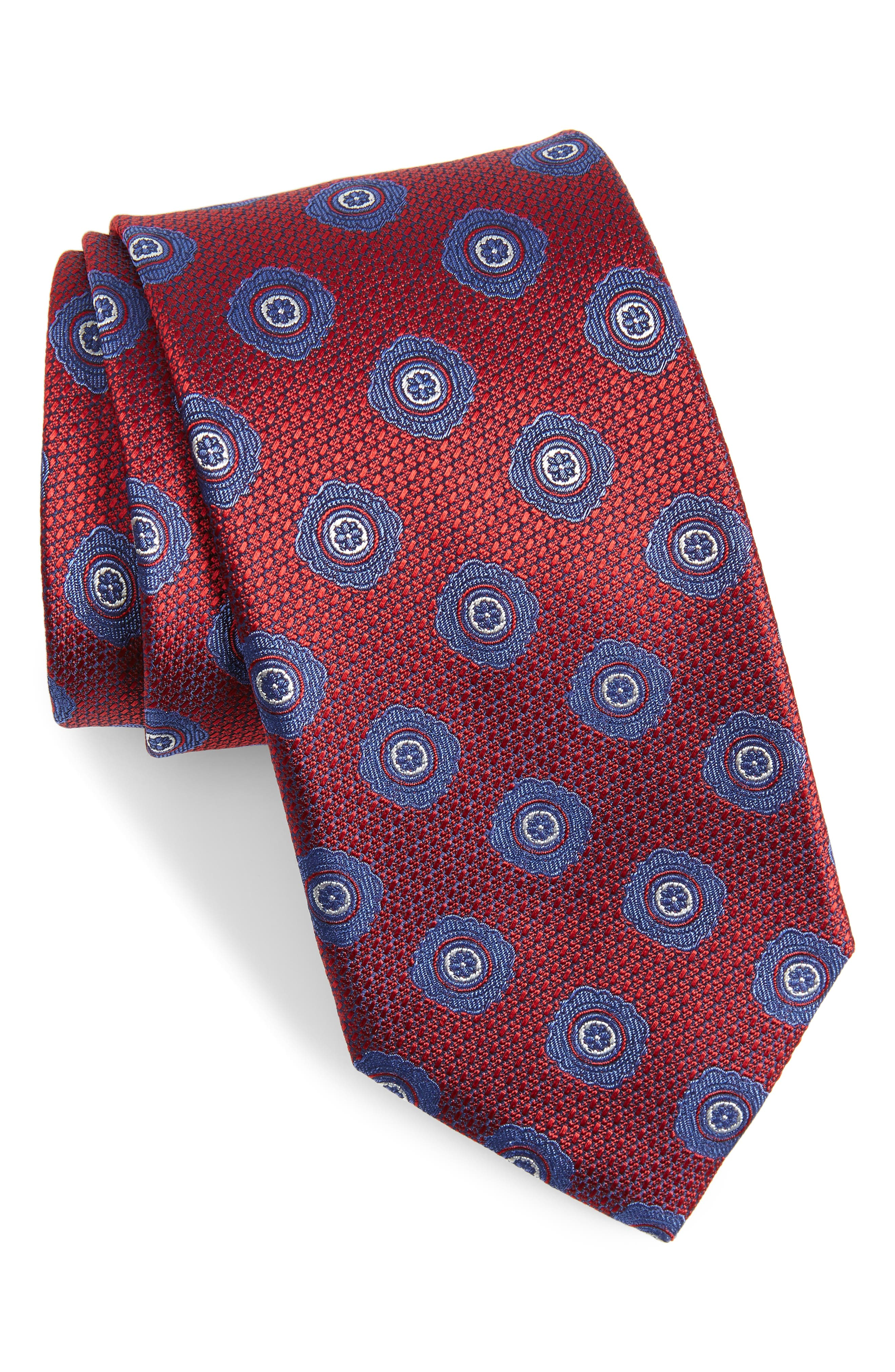CANALI, Medallion Silk Tie, Main thumbnail 1, color, RED