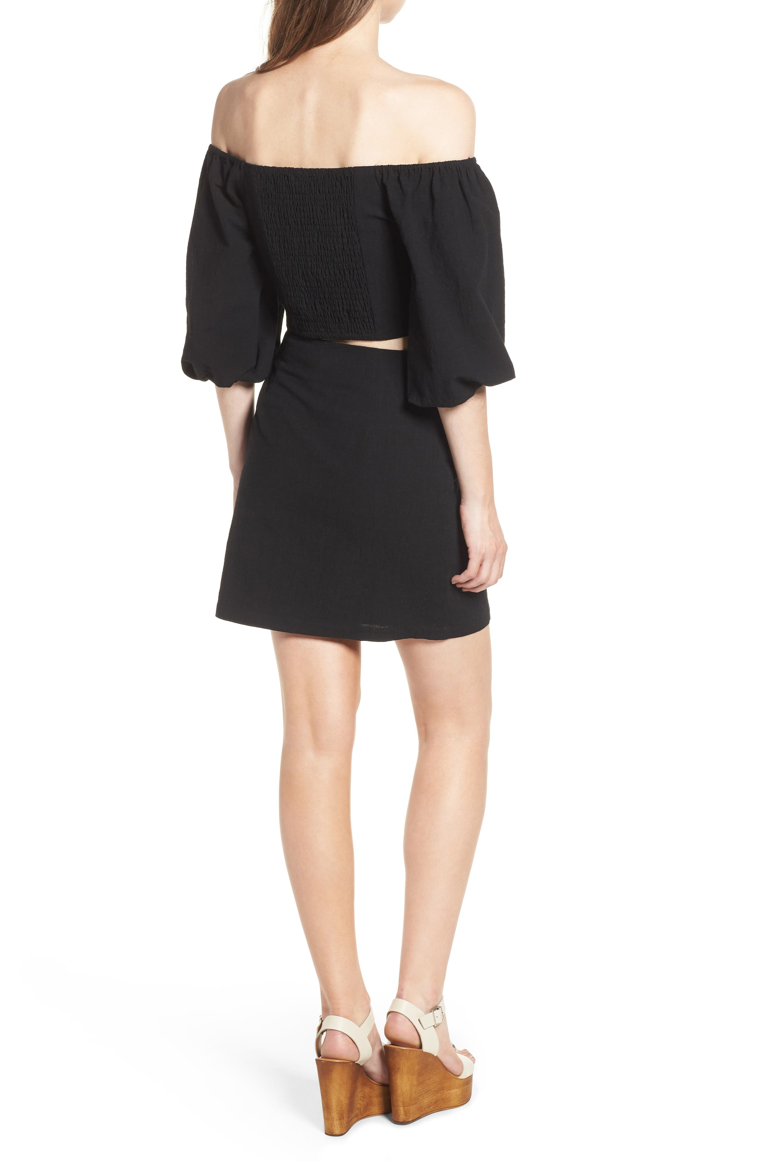 J.O.A., Button Front Miniskirt, Alternate thumbnail 8, color, 001