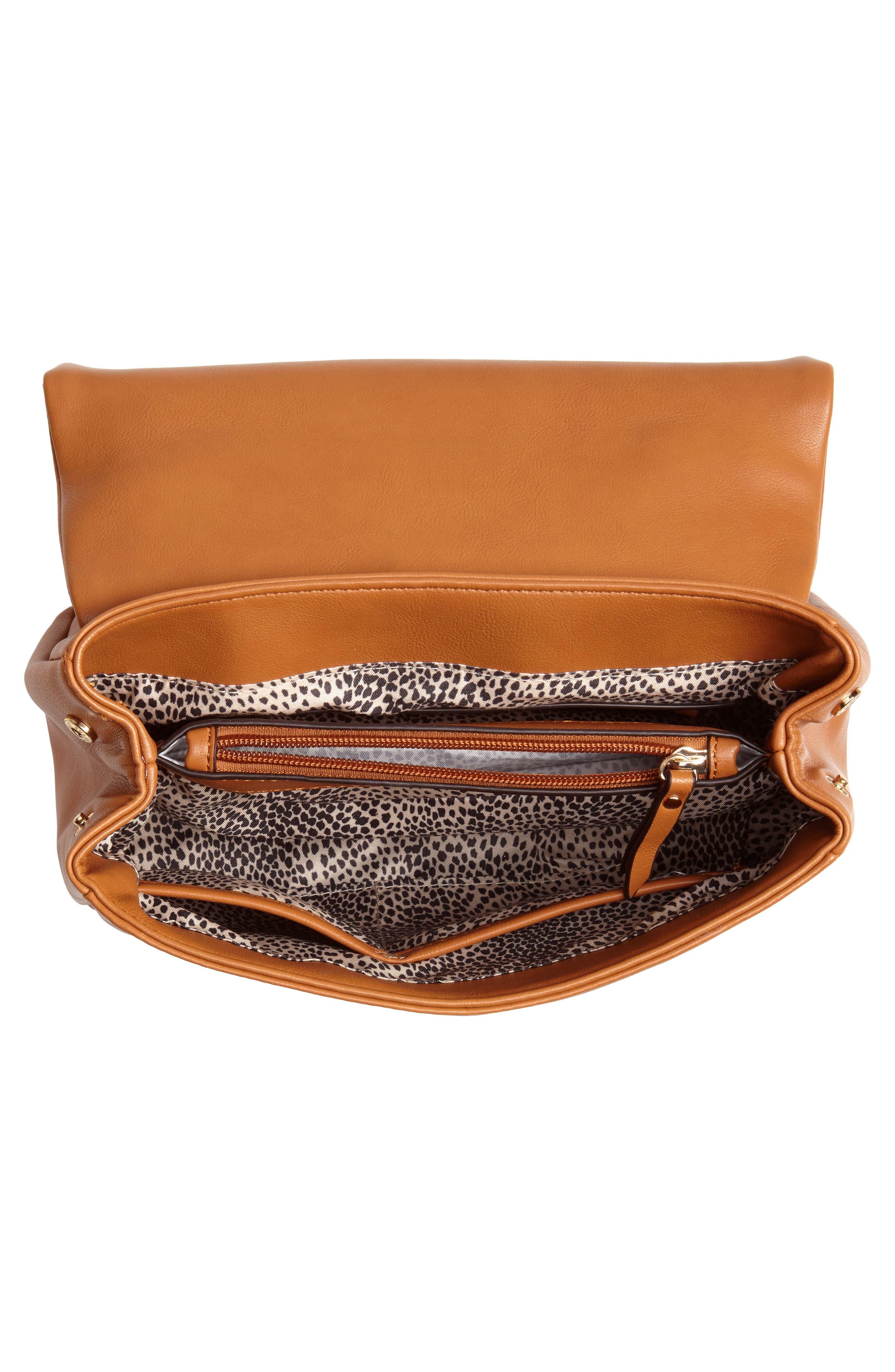 SOLE SOCIETY, Rubie Faux Leather Crossbody Bag, Alternate thumbnail 5, color, COGNAC