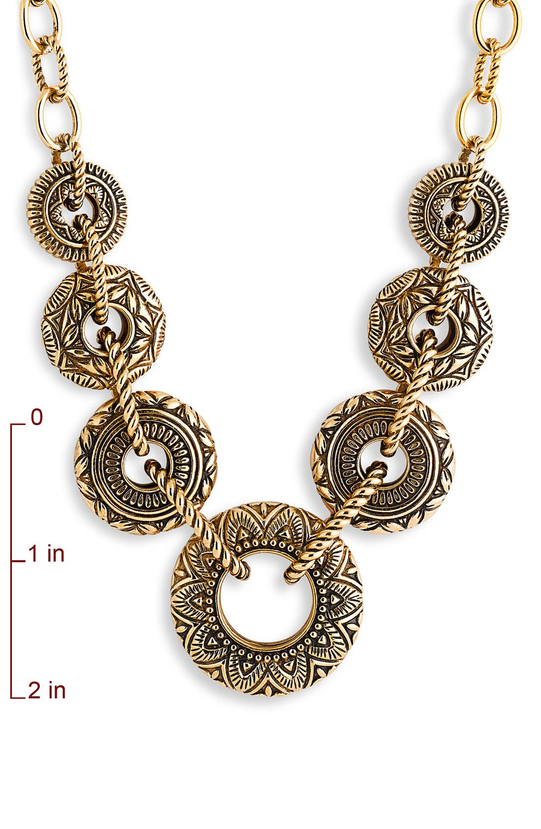 BARSE, 'Mayan' Bronze Link Necklace, Alternate thumbnail 2, color, 220