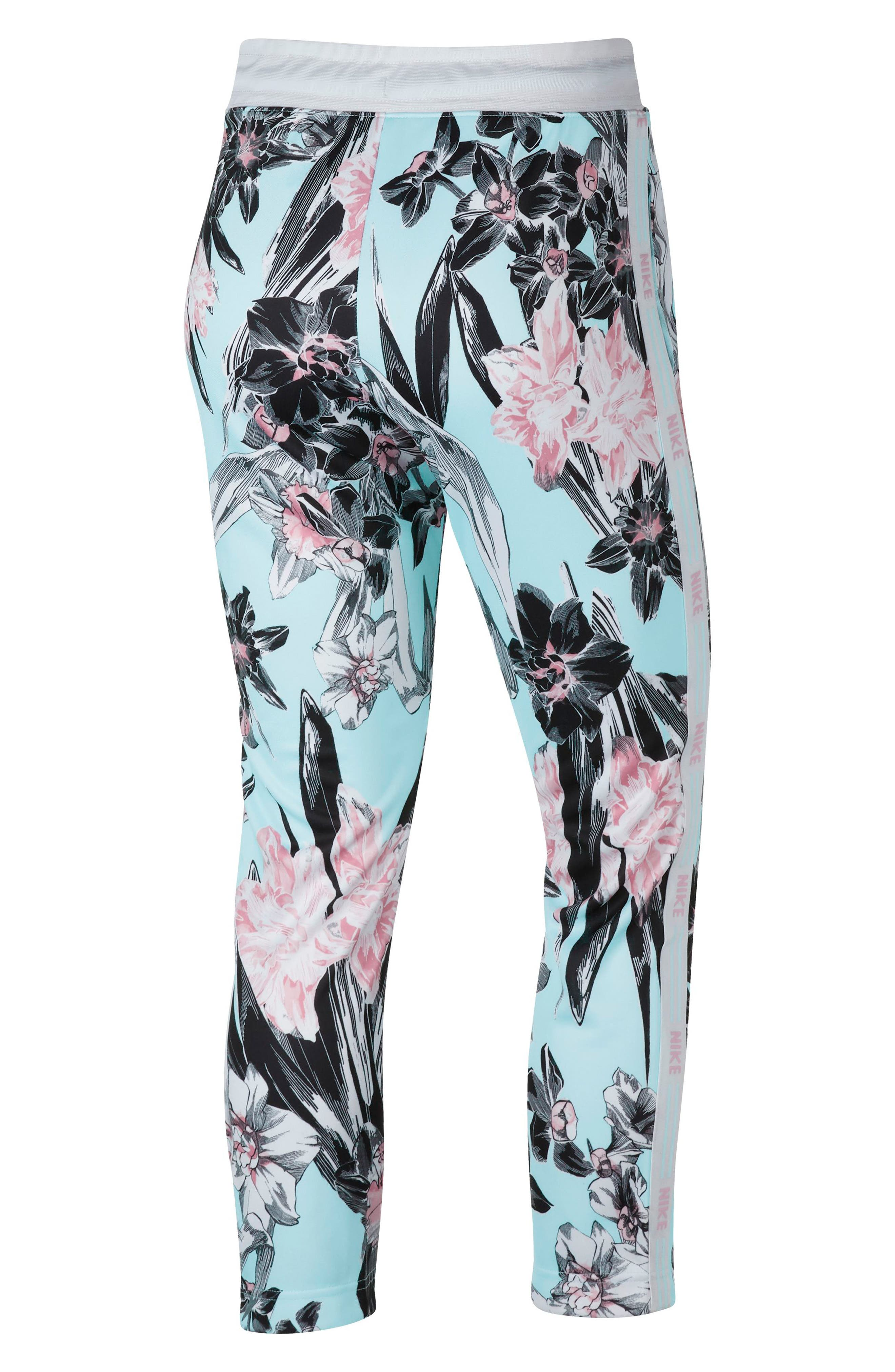 NIKE, Sportswear Floral Print Pants, Alternate thumbnail 9, color, TOPAZ MIST/ WHITE/ WHITE