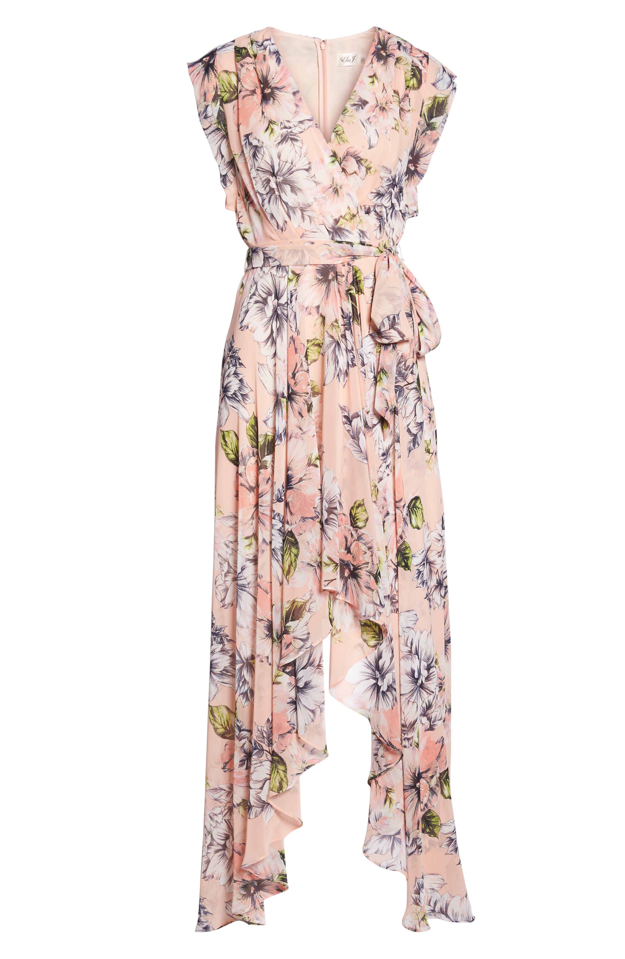 ELIZA J, Floral Ruffle High/Low Maxi Dress, Alternate thumbnail 7, color, BLUSH