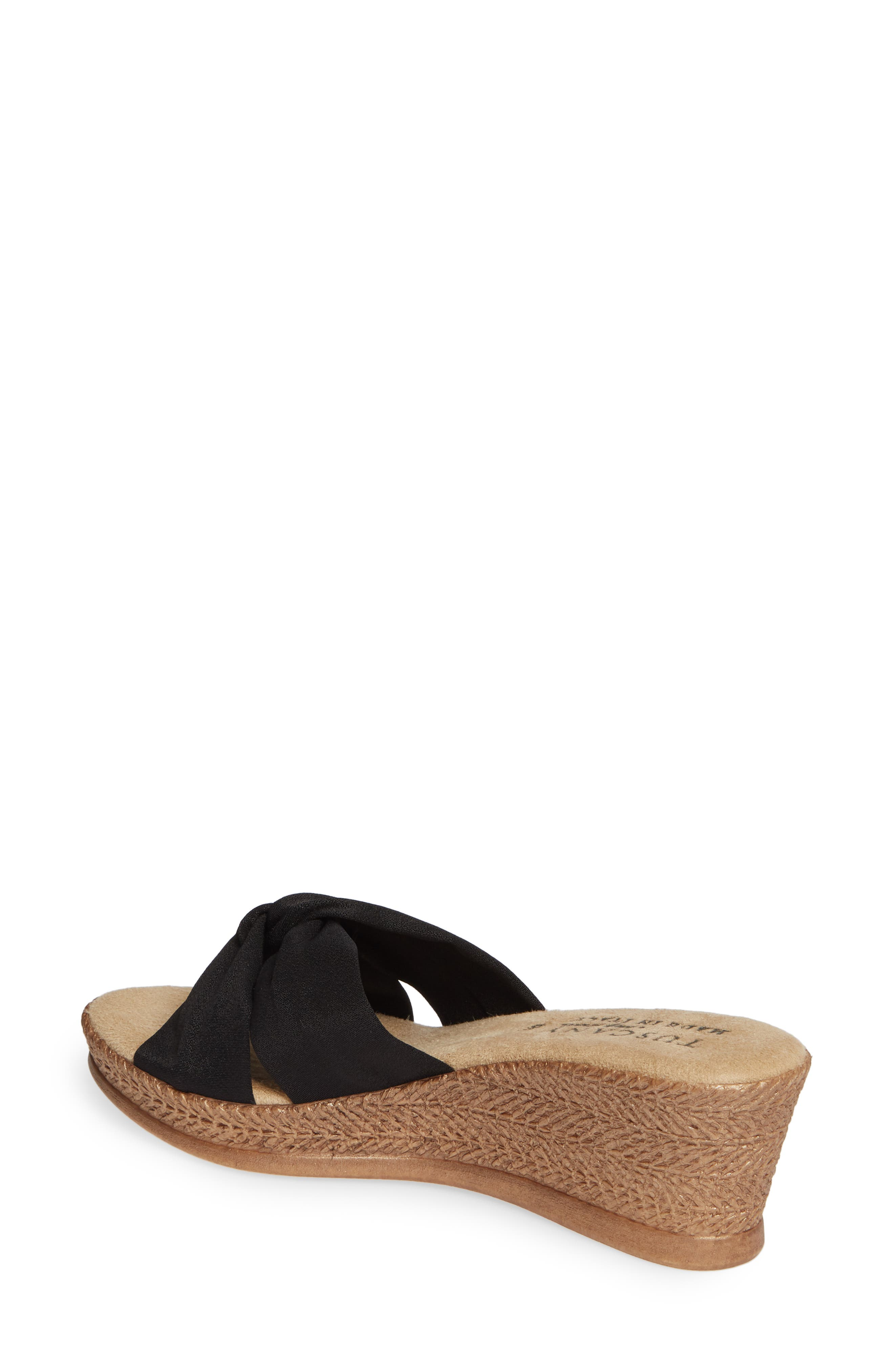 TUSCANY BY EASY STREET<SUP>®</SUP>, Dinah Platform Wedge Sandal, Alternate thumbnail 2, color, BLACK FABRIC